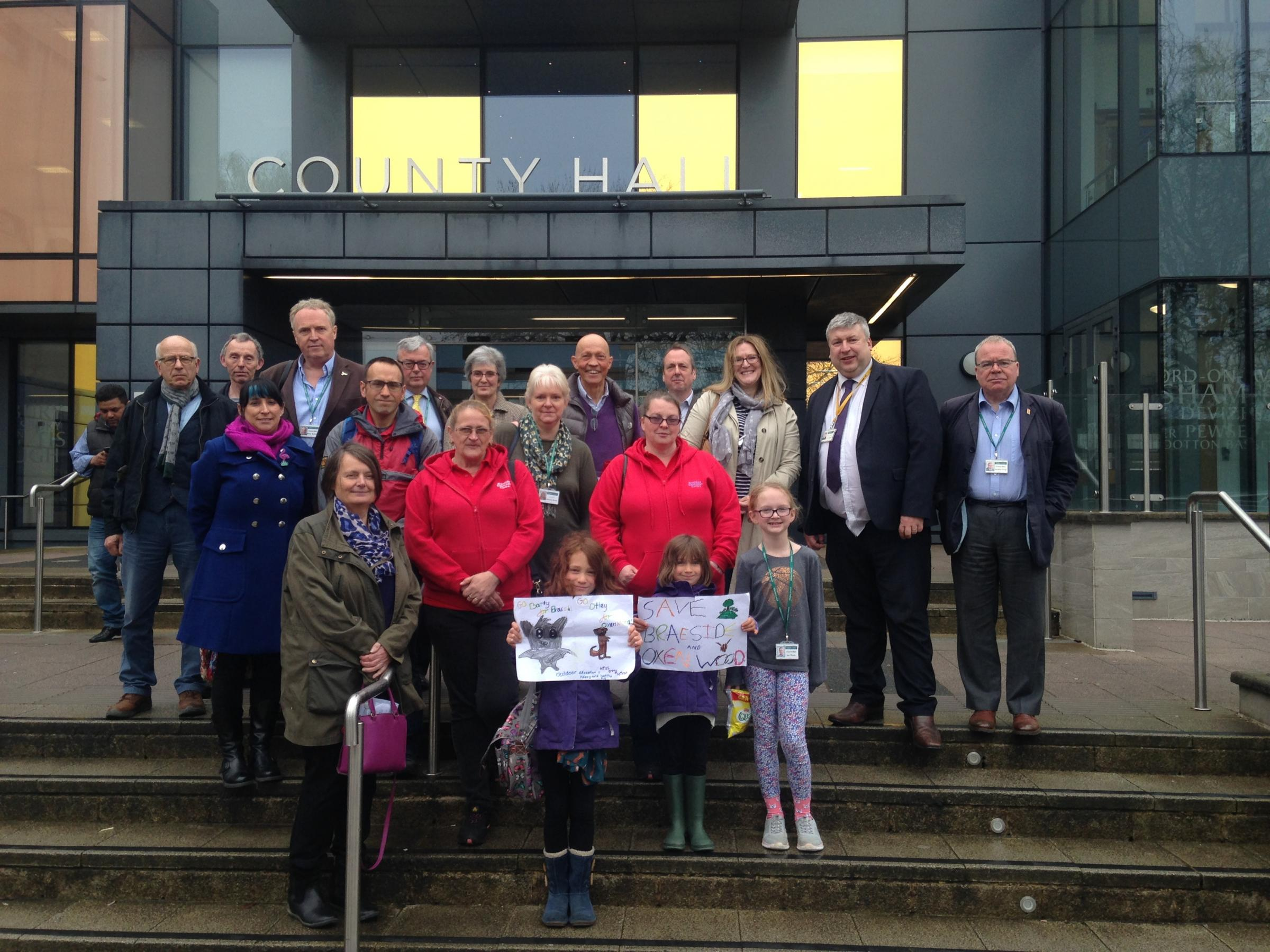 Campaigners attend the Overview and Scrutiny Management Committee into the decision to close Braeside and Oxenwood