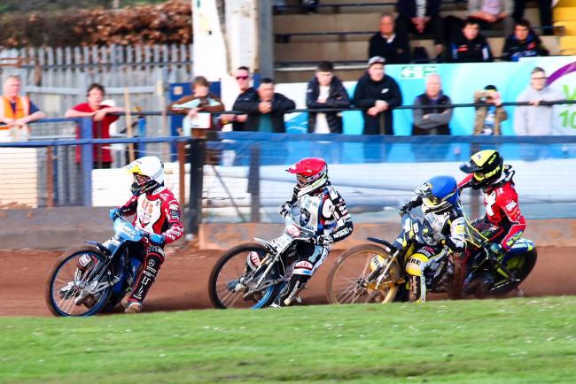James Shanes (blue helmet) trails Tobiasz Musielak and Peter Kildemand during Swindon Robins' SGB Premiership tie with Poole Pirates in April of this year.