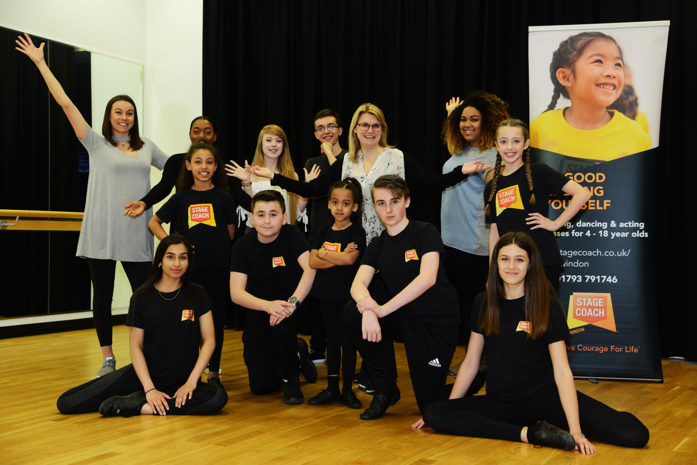 Stagecoach performing arts school success. Pictured Sheryll Fox, principal of stagecoach with pupils..18/04/18 Thomas Kelsey.