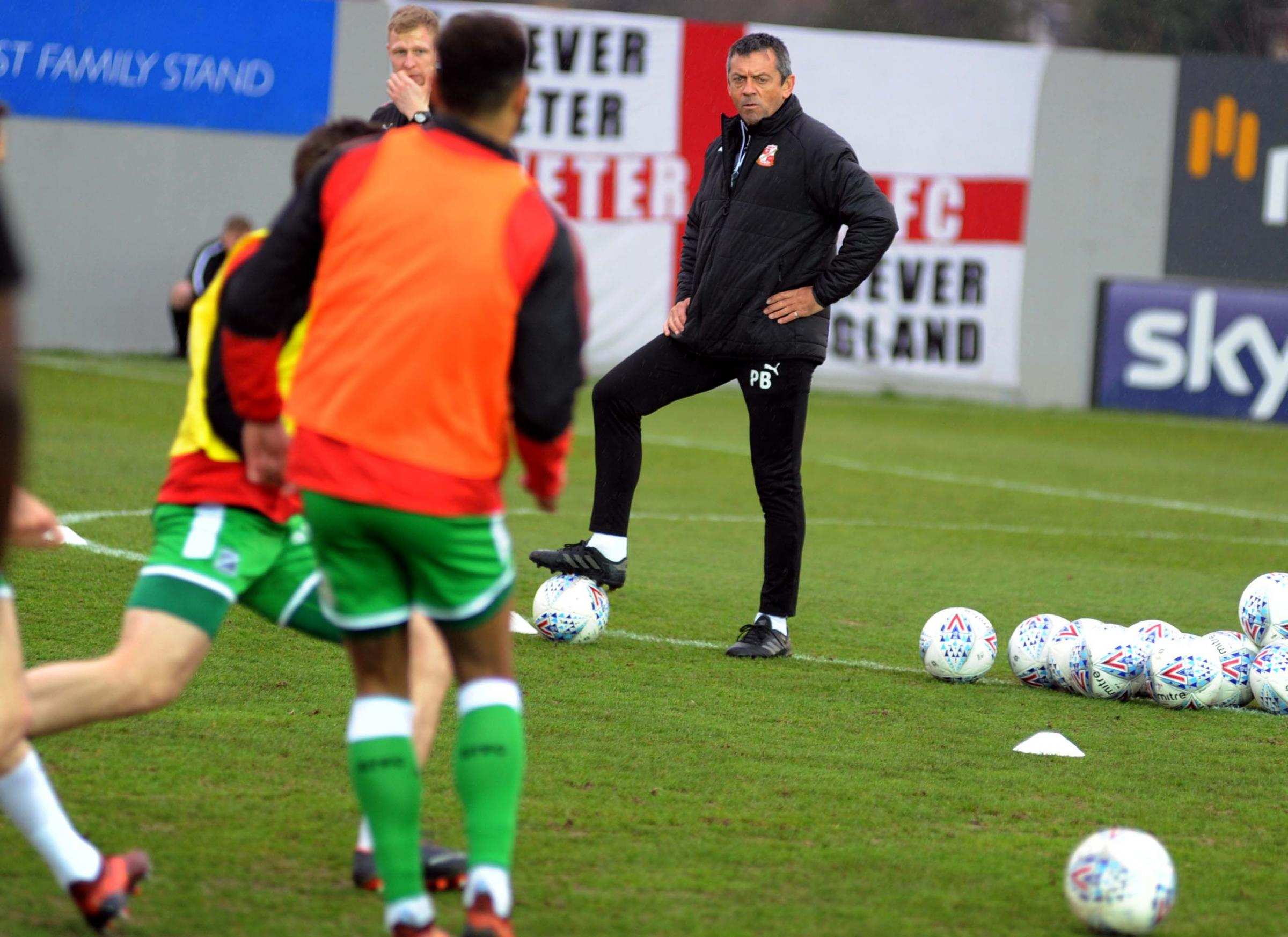 Exeter v STFC           Pic Dave Evans            24.03.18 .Phil Brown conducts a pre-match warm up..