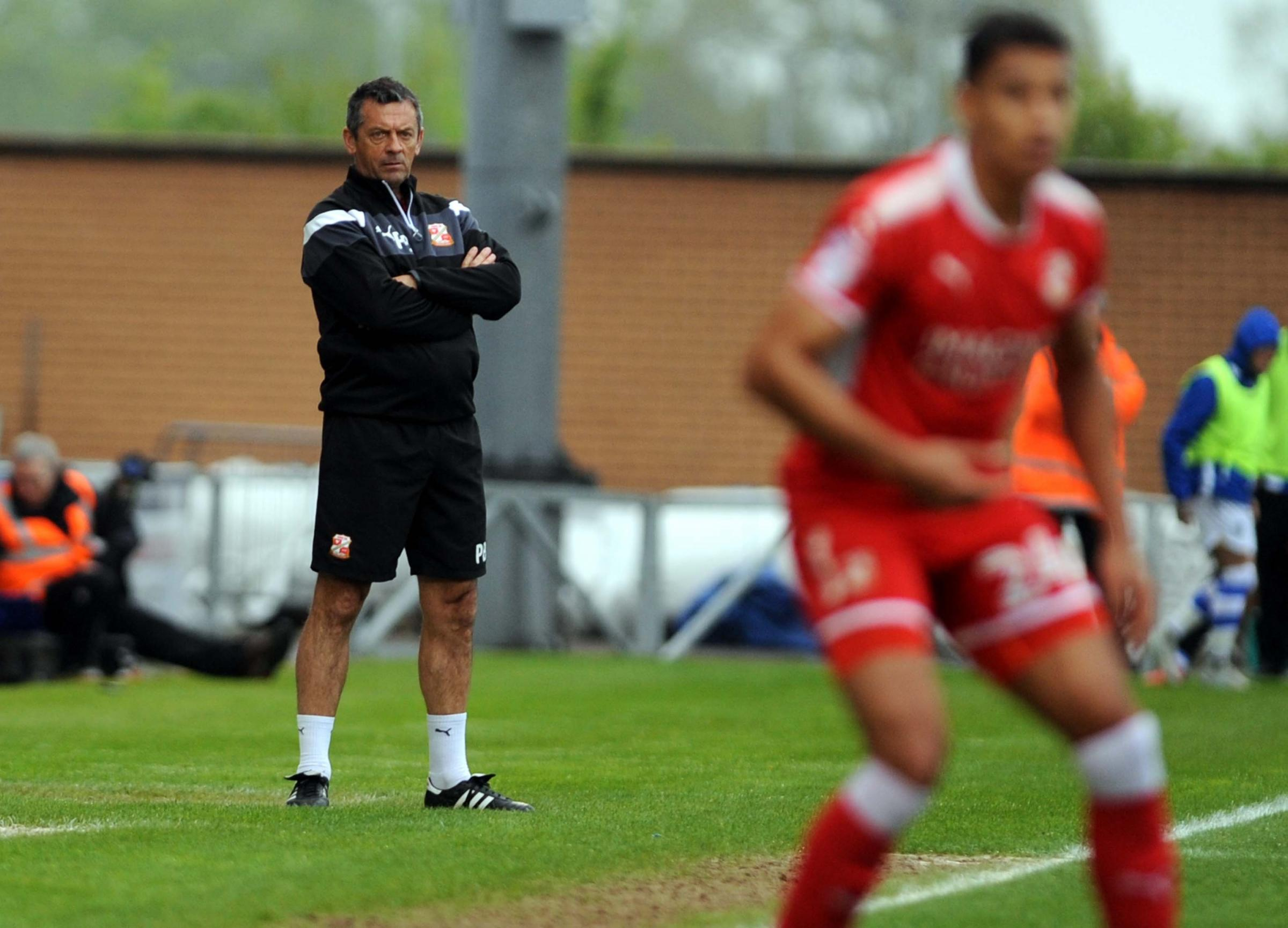 Colchester v STFC         Pic Dave Evans     28.04.18.Phil Brown watches from the touchline..