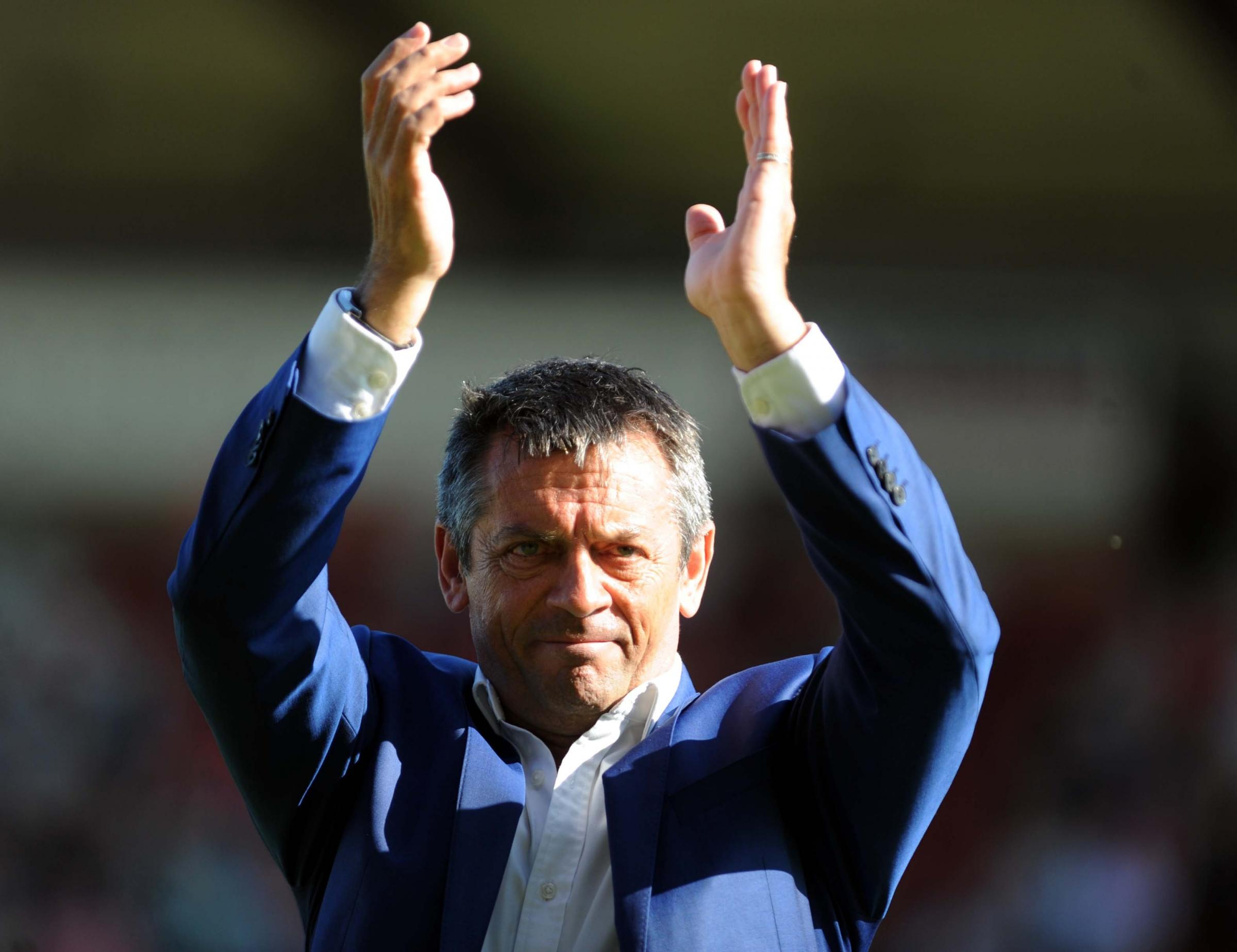 STFC v Accrington Stanley      Pic Dave Evans      5.5.18.Phil Brown applauds Town fans on the final whistle of the final match of the season..