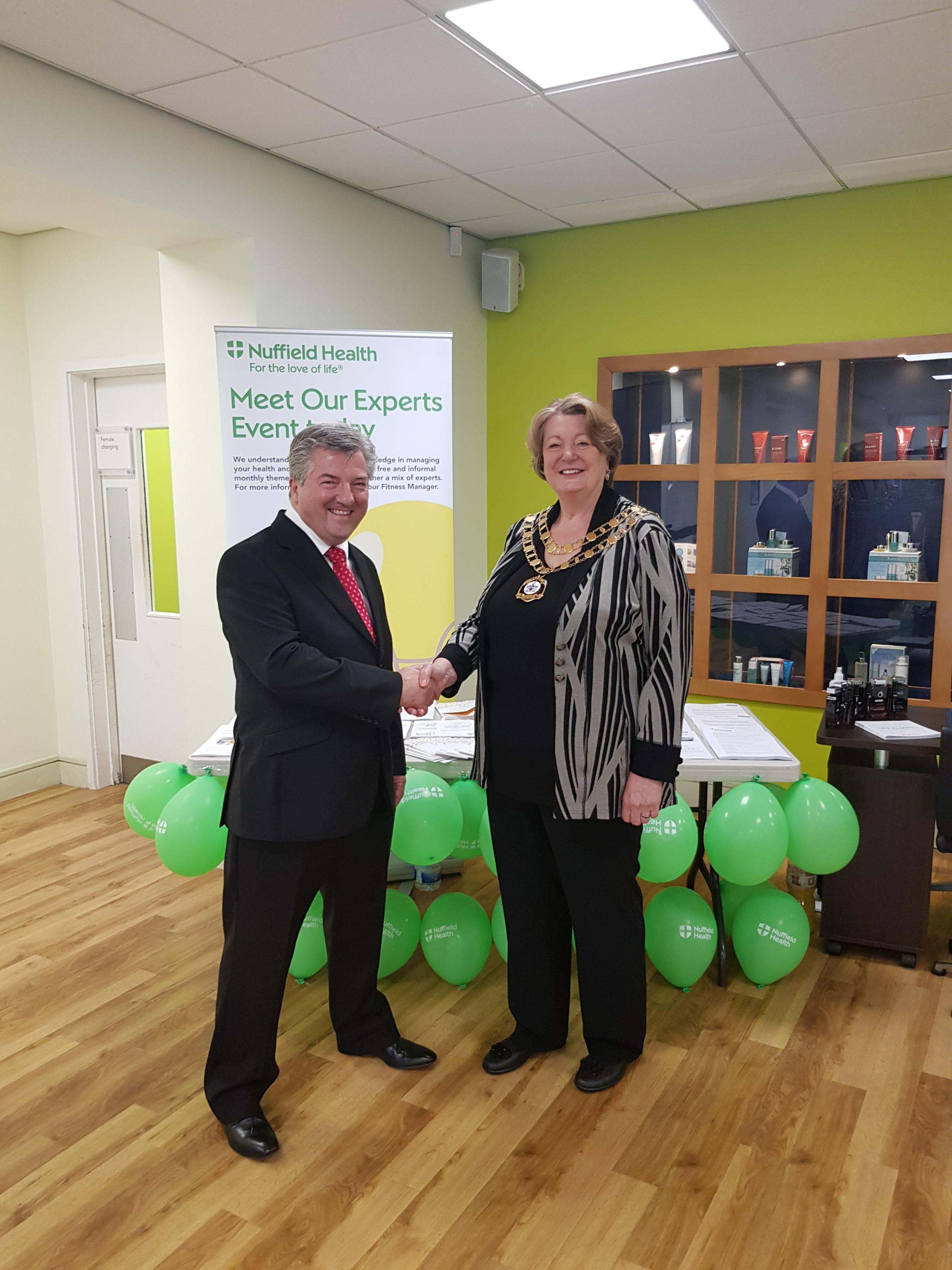Martin Skinner of Nuffield Health with mayor Maureen Penny.