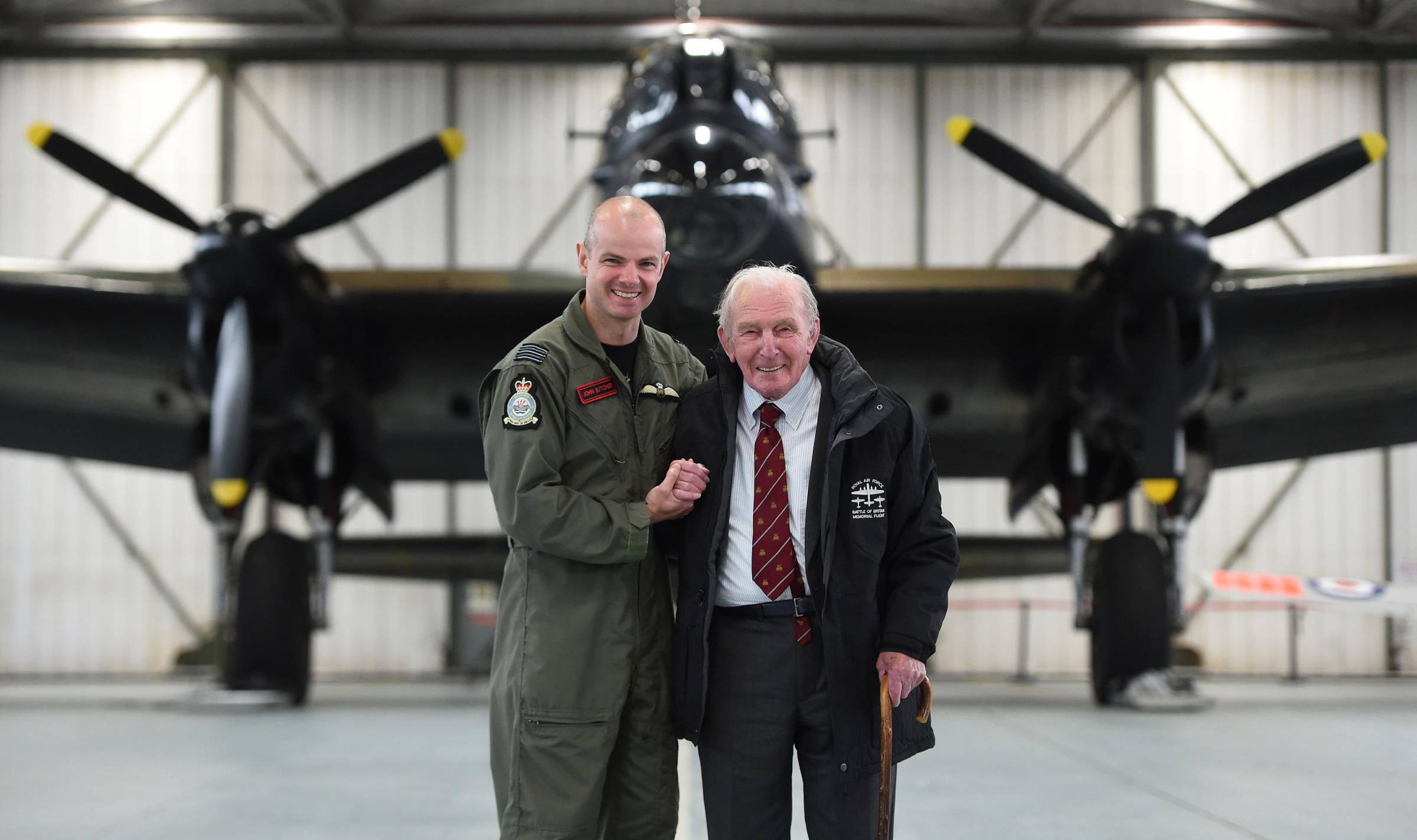 Wing Commander John Butcher (left) with Johnny Johnson, the last survivor of the original Dambusters of 617 Squadron, at RAF Coningsby, Lincolnshire. Picture: Joe Giddens/PA Wire