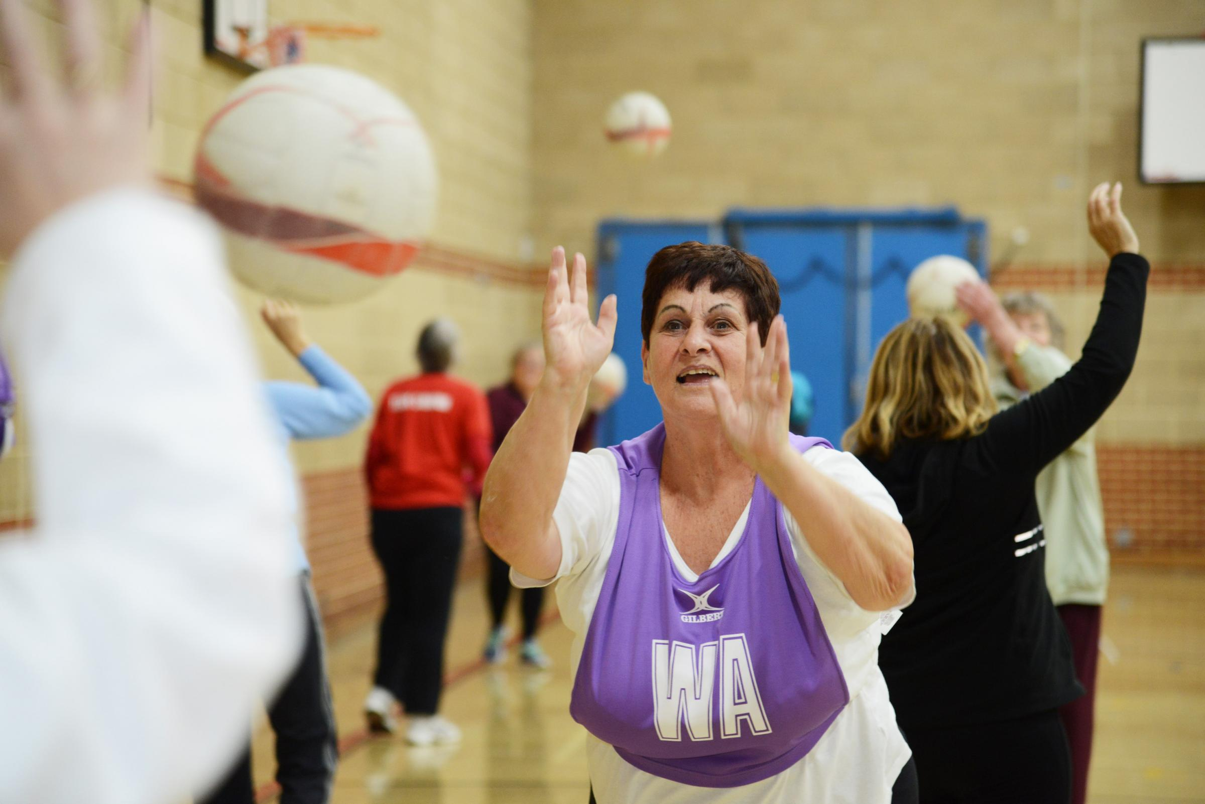 A walking netball session. The group sessions have helped those with dementia. Picture: THOMAS KELSEY