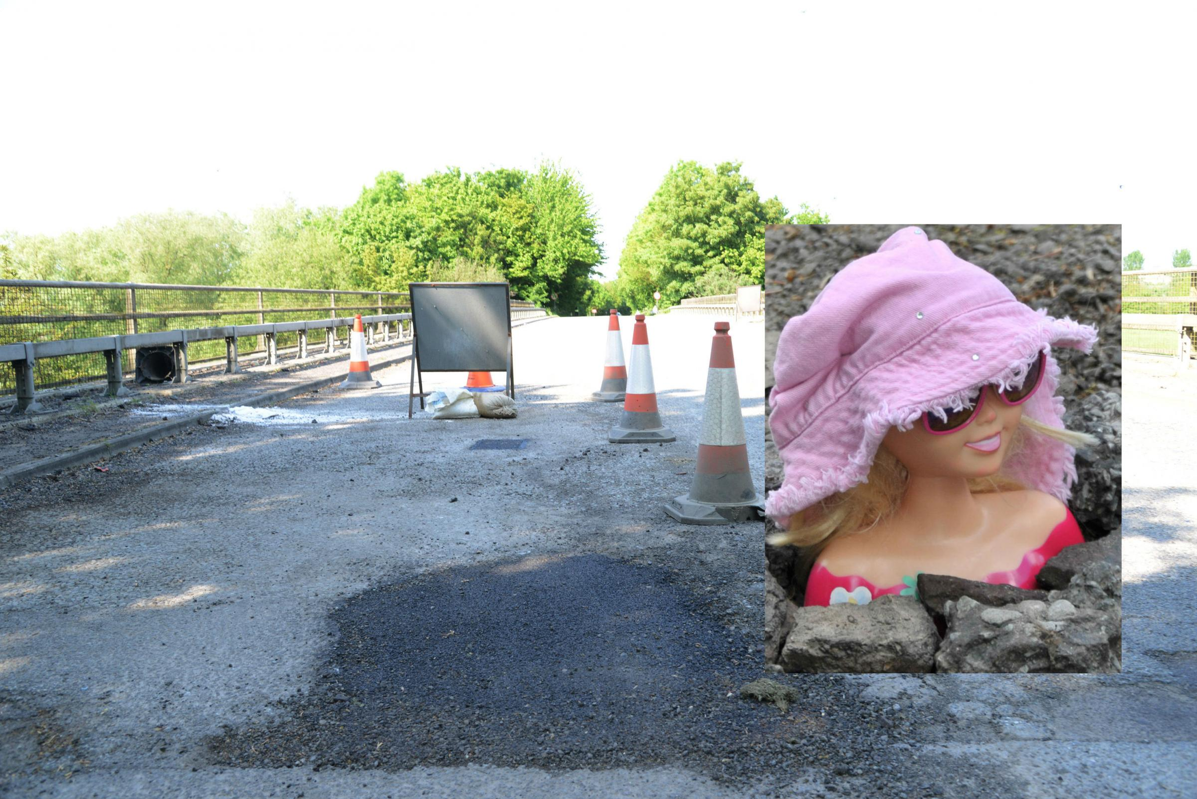 The patched pothole repair. Inset: Doll Hatty. Pictures: THOMAS KELSEY/DAVE COX