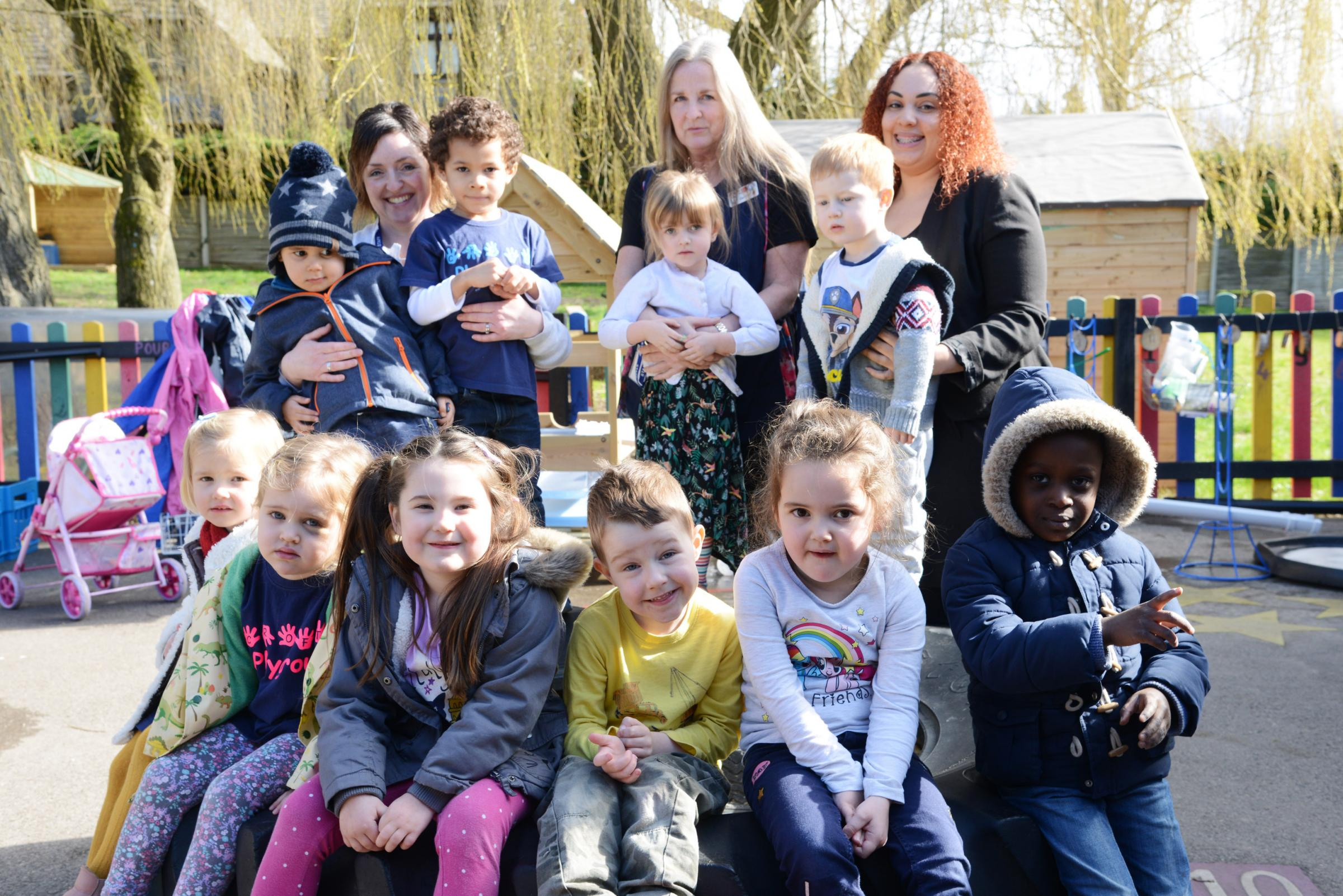 Croft play school have had a good Ofsted. Pictured Helen Dealove, Carol timlett and Michelle Barrow with pupils..26/03/18 Thomas Kelsey.