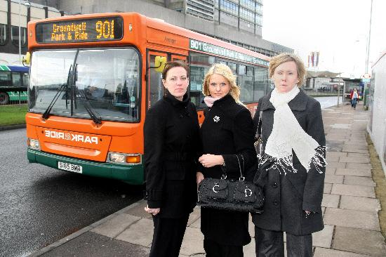 Emma Cowan, Joanna Marlowe and Joanne Ord who are unhappy at the plans to close Groundwell park and ride