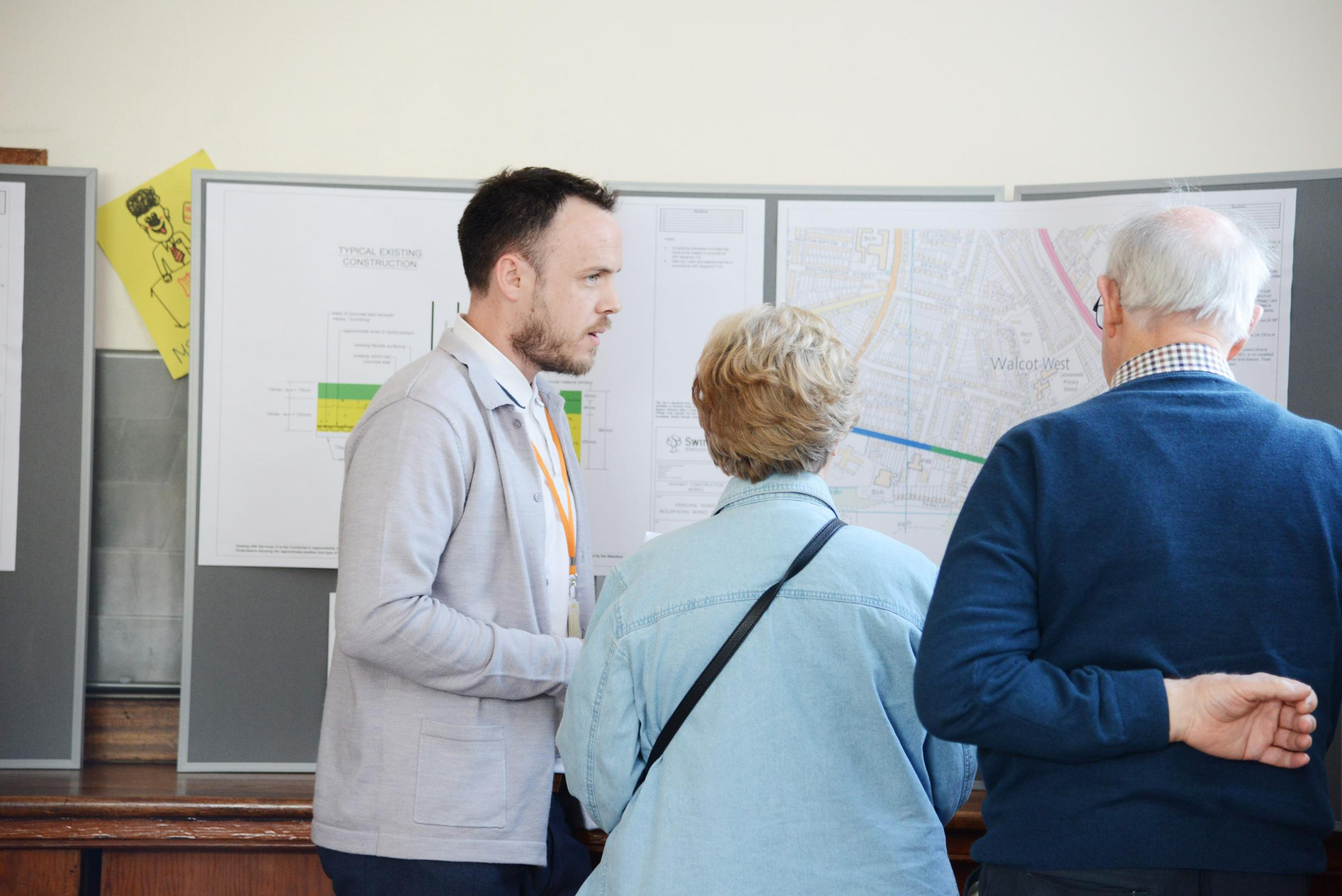 Ben Adams talking to local residents about road plans at public consultation. Picture: Thomas Kelsey