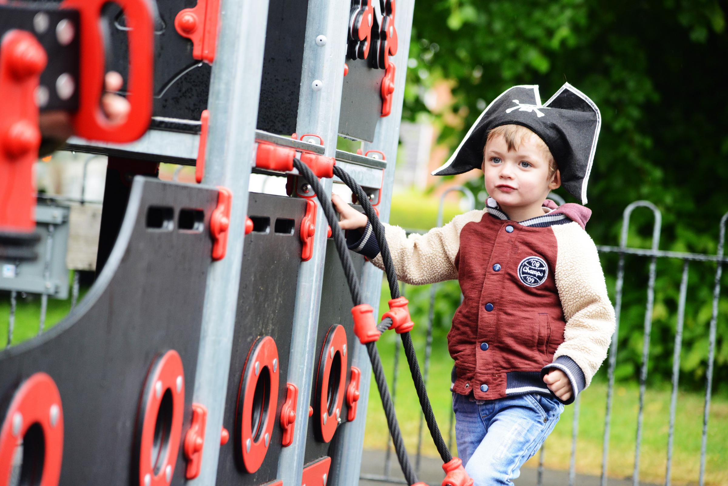The Stratton Parish Council is unveiling a new pirate ship play area for toddlers. Pictured Finn Loxton..24/05/18 Thomas Kelsey.