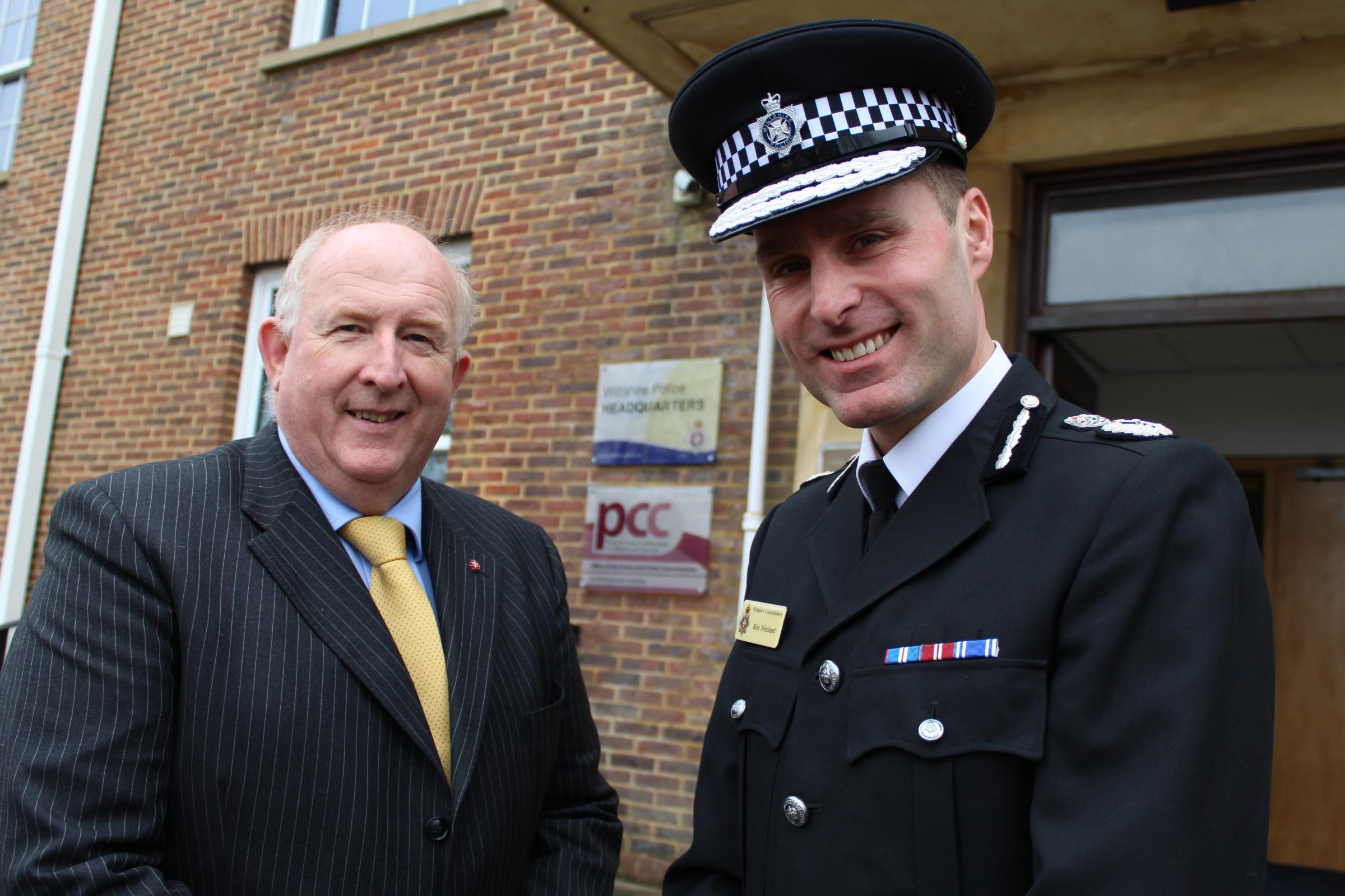 Wiltshire Crime Commissioner Angus Macpherson with Chief Constable Kier Pritchard