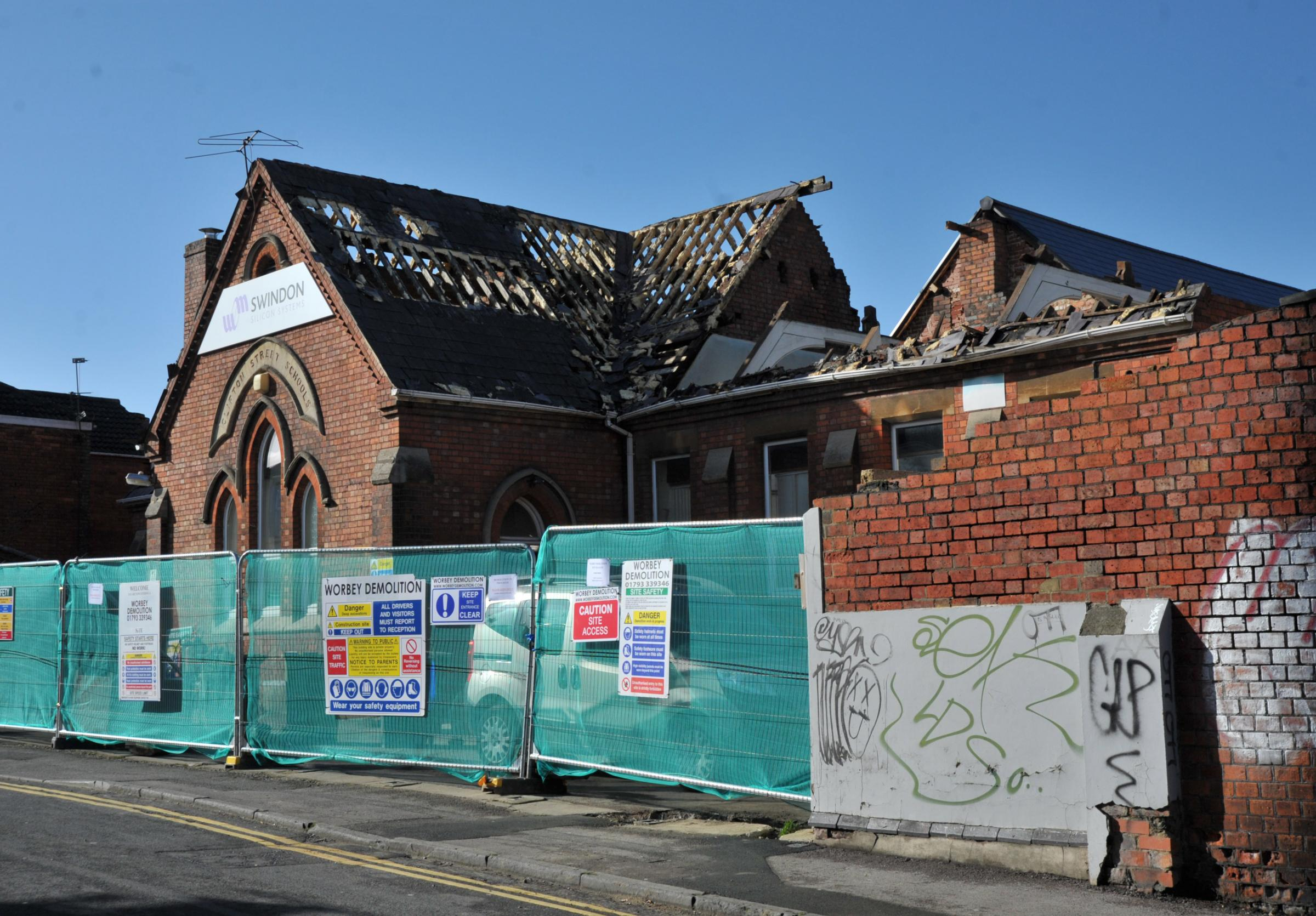Clifton Street School during the demolition work. Picture: DAVE COX