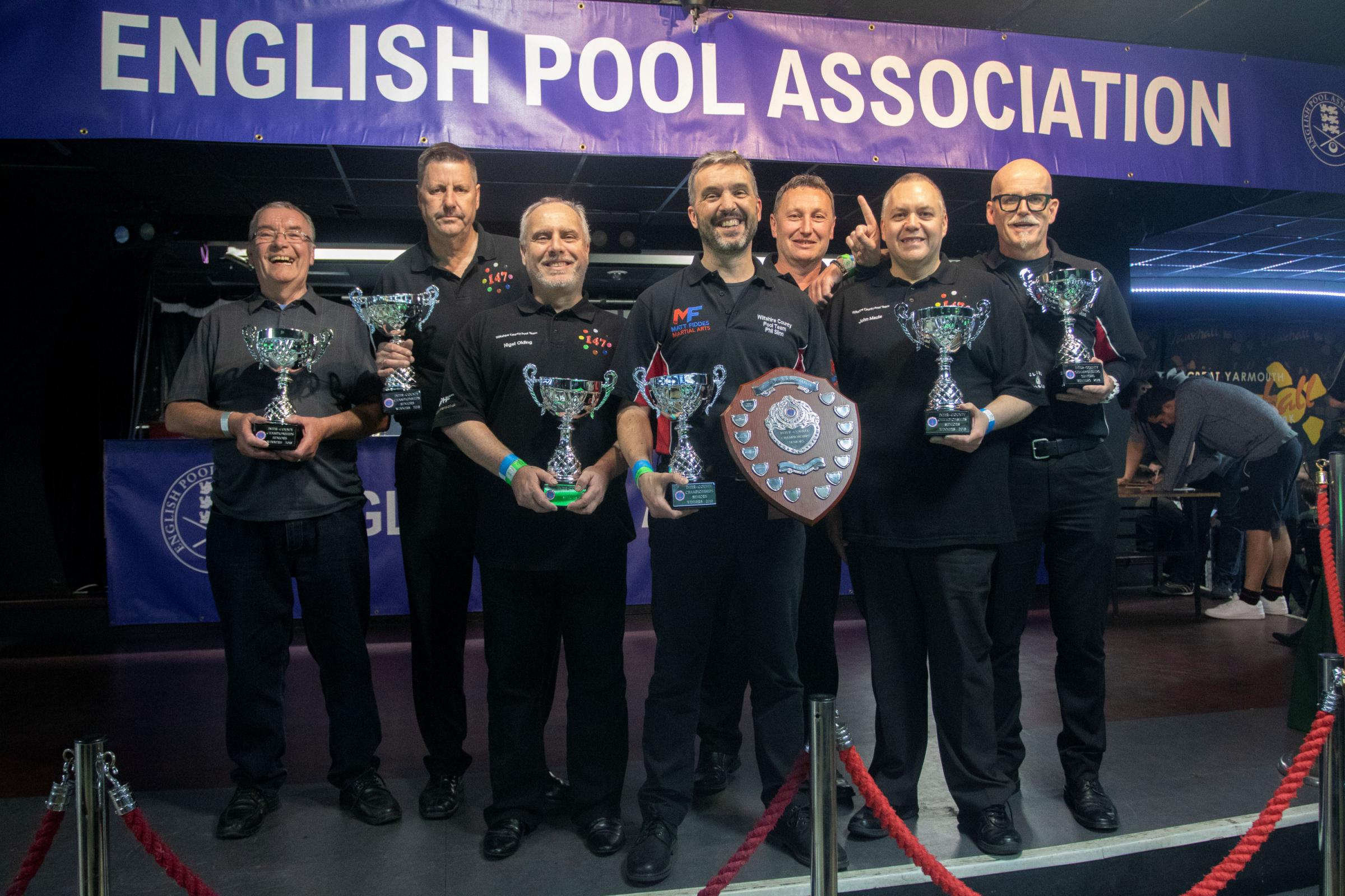 Wiltshire seniors county pool team and supporters (from left to right): Phil's Dad Alan, Jason Godbeer, Nigel Olding, Phil Slinn, Tony Nelson, John Maule and John McMackin