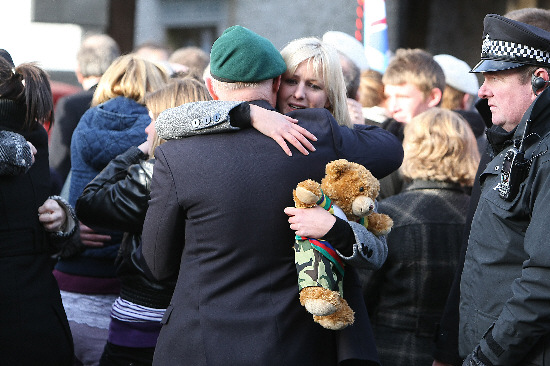 The girlfriend of Royal Marine Travis Mackin, at yesterday's repatriation in Wootton Bassett