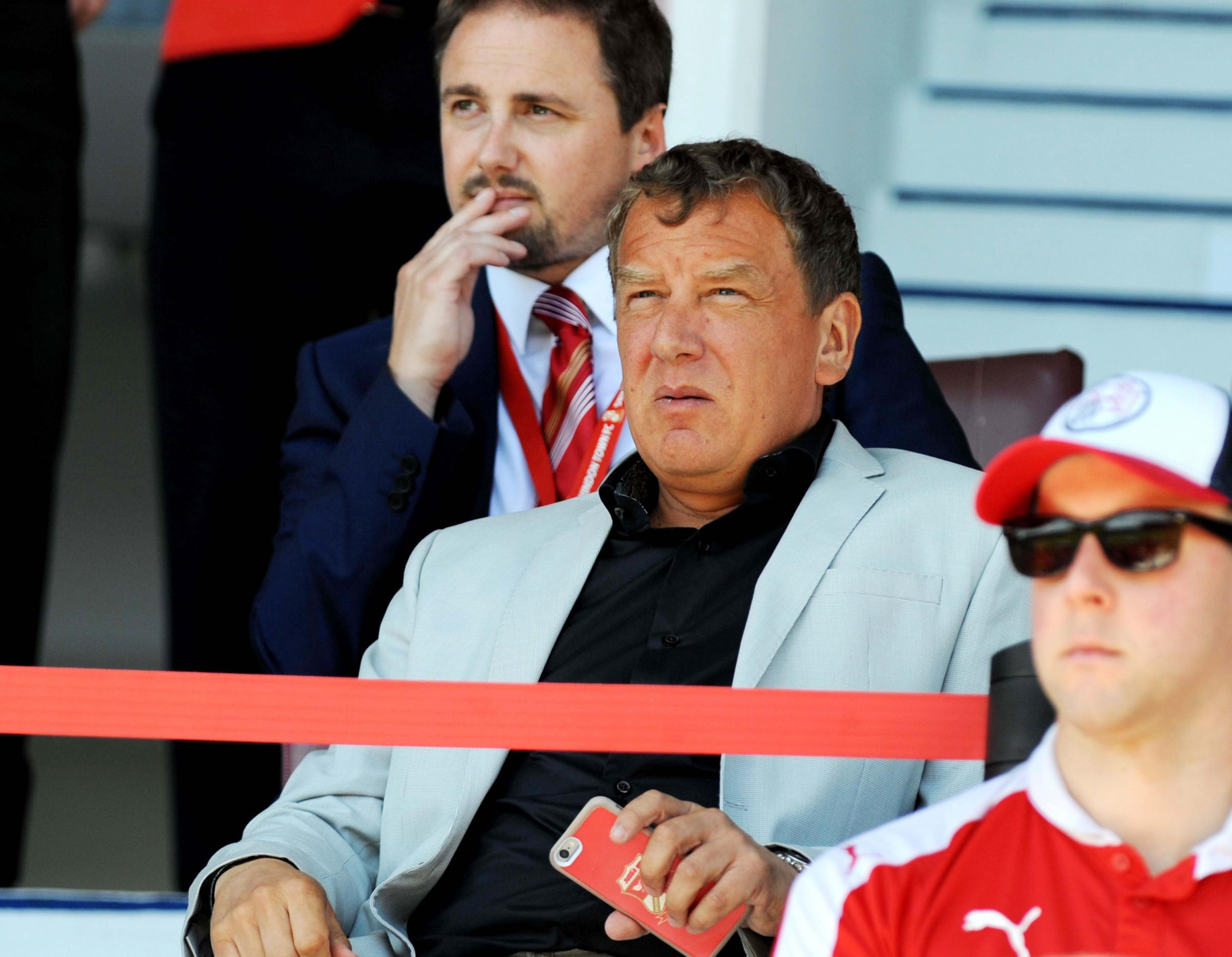 Swindon Town chairman Lee Power with chief executive Steve Anderson behind