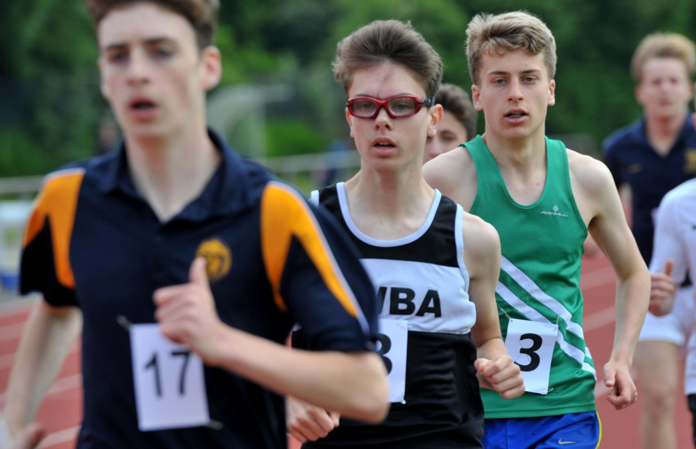 Action from the senior boys' 1500m at the Wiltshire Schools Athletics Championships at Swindon's County Ground. Picture: DAVE COX