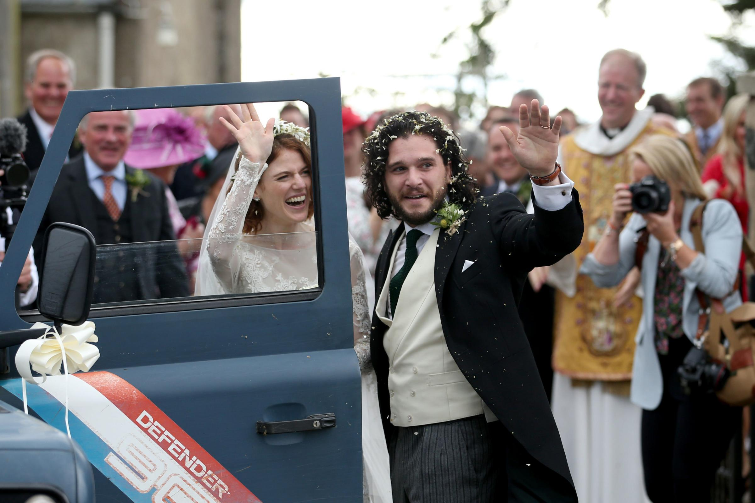 Kit Harington and Rose Leslie at Rayne Church, Kirkton of Rayne in Aberdeenshire, after their wedding