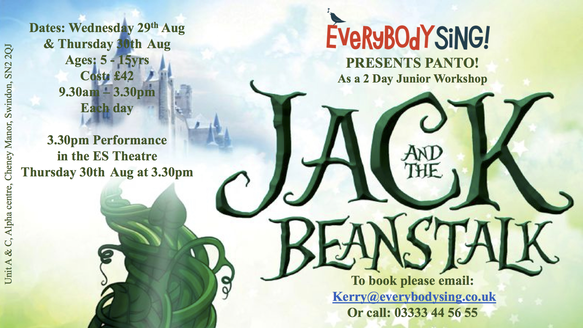 Everybody Sing Jack & the Beanstalks Musical Theatre Panto Workshop