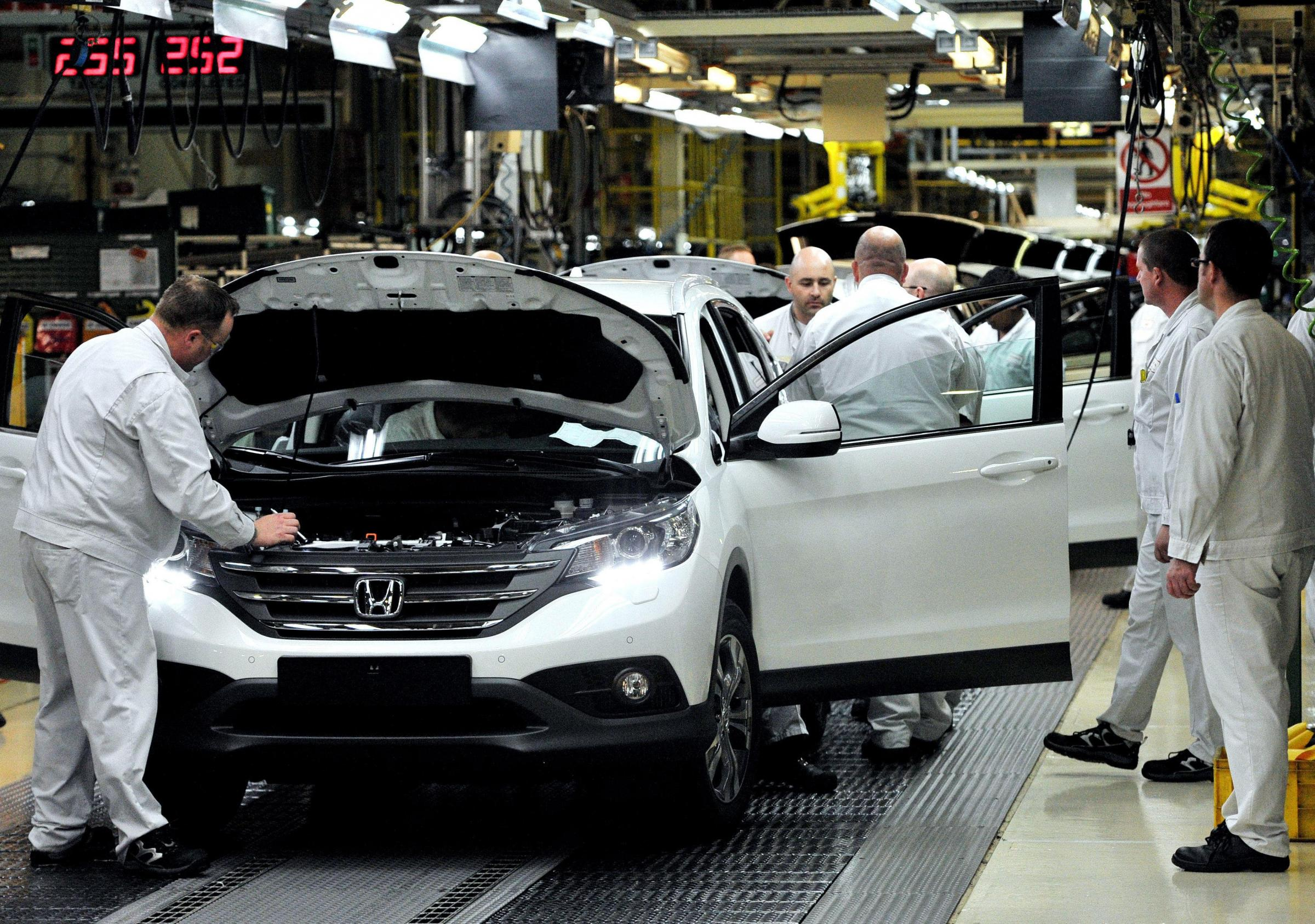 Workers on the production line at the Honda Plant in South Marston that will halt production for six days as a contingency plan for any disruption at the border after March 29.