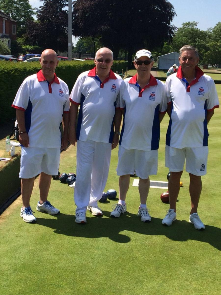 The Royal Wootton Bassett quartet representing England in the British Isles Championships in the senior fours are (l-r): Bassett foursome of Barry Sictorness, Chris Cheesley, Mel Biggs and Terry Walton