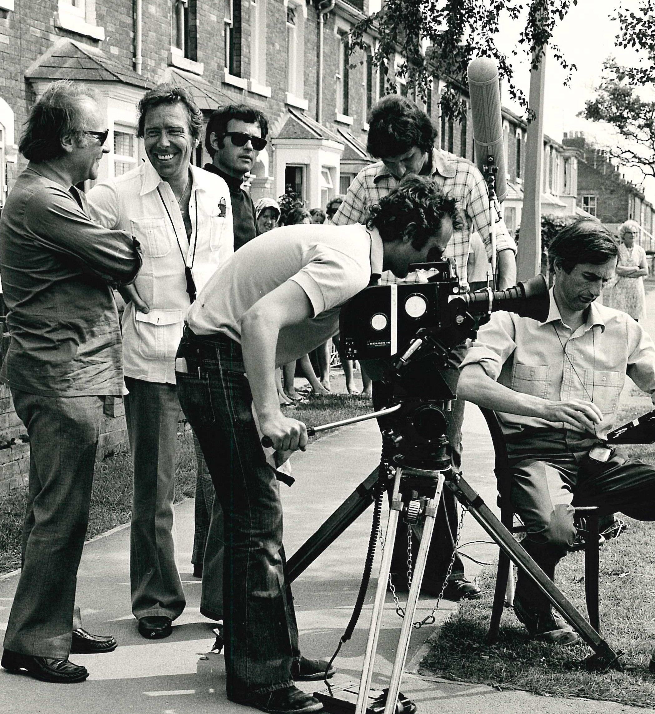 Lord Snowdon, second from left, was spotted in Swindon making a TV documentary on this day in 1973