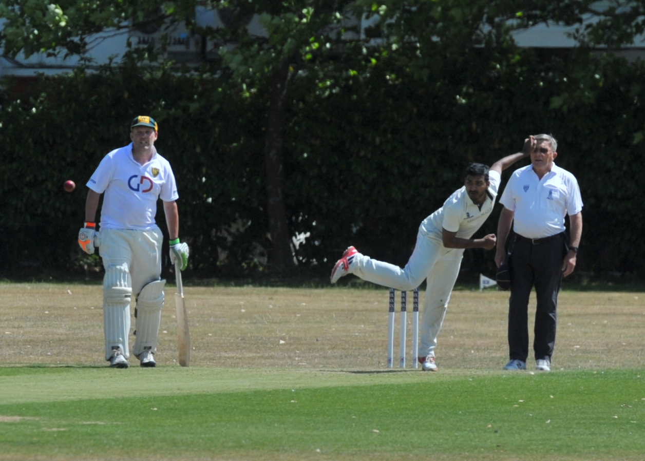 Swindon's Udit Talati bowls during his side's WEPL Wiltshire defeat to leaders Warminster on Saturday                                                                                                                      Picture: DAVE COX