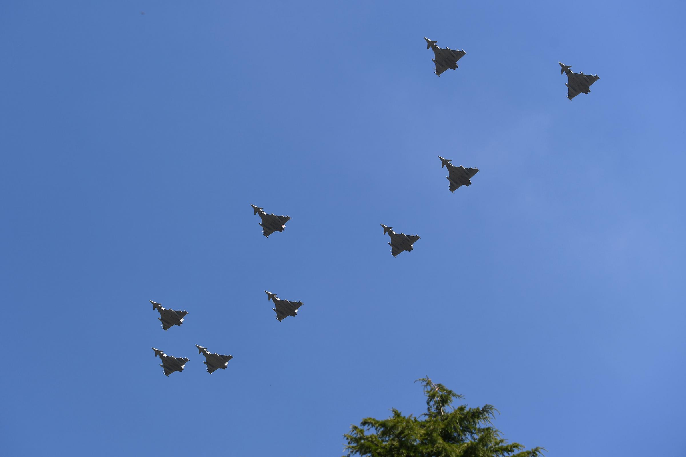 Typhoon jets from the Royal Air Force flying over RAF Cranwell in Lincolnshire as a rehearsal for their centenary flypast over Buckingham Palace in central London on July 10    Picture: JOE GIDDENS/PA