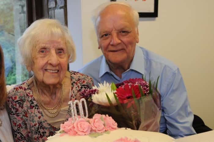 Wyn Davison , here with nephew Ron Clark, will celebrate her 102nd birthday this month