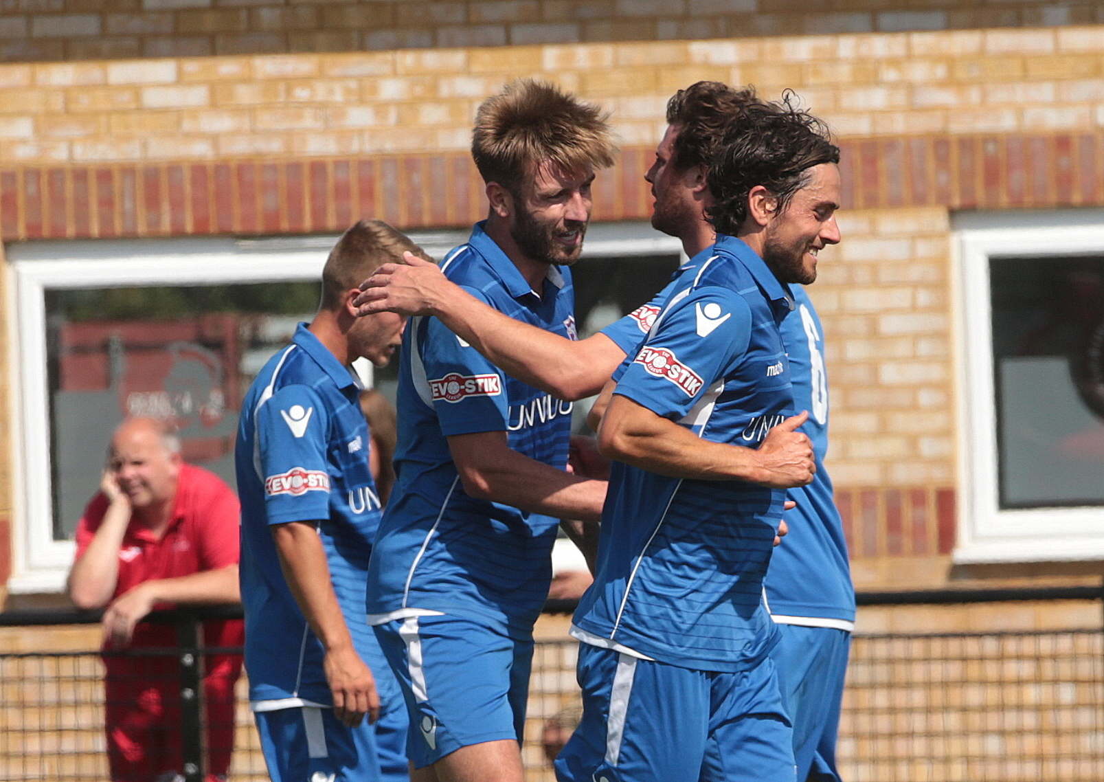 Conor McDonagh celebrates a goal for Swindon Supermarine against Cirencester Town. PICTURE: JEFF YOUD
