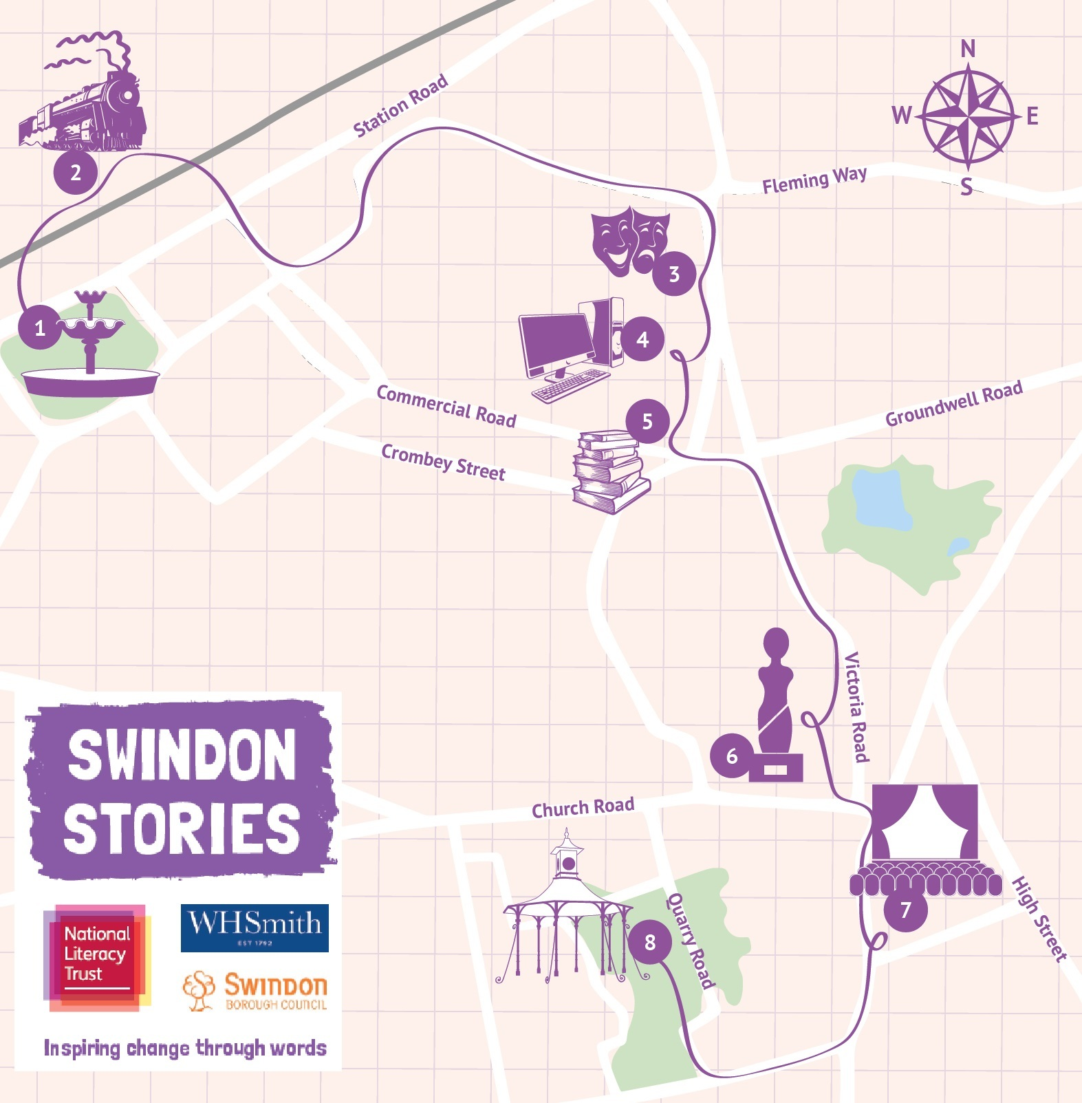The Swindon Stories Lost for Words trail map
