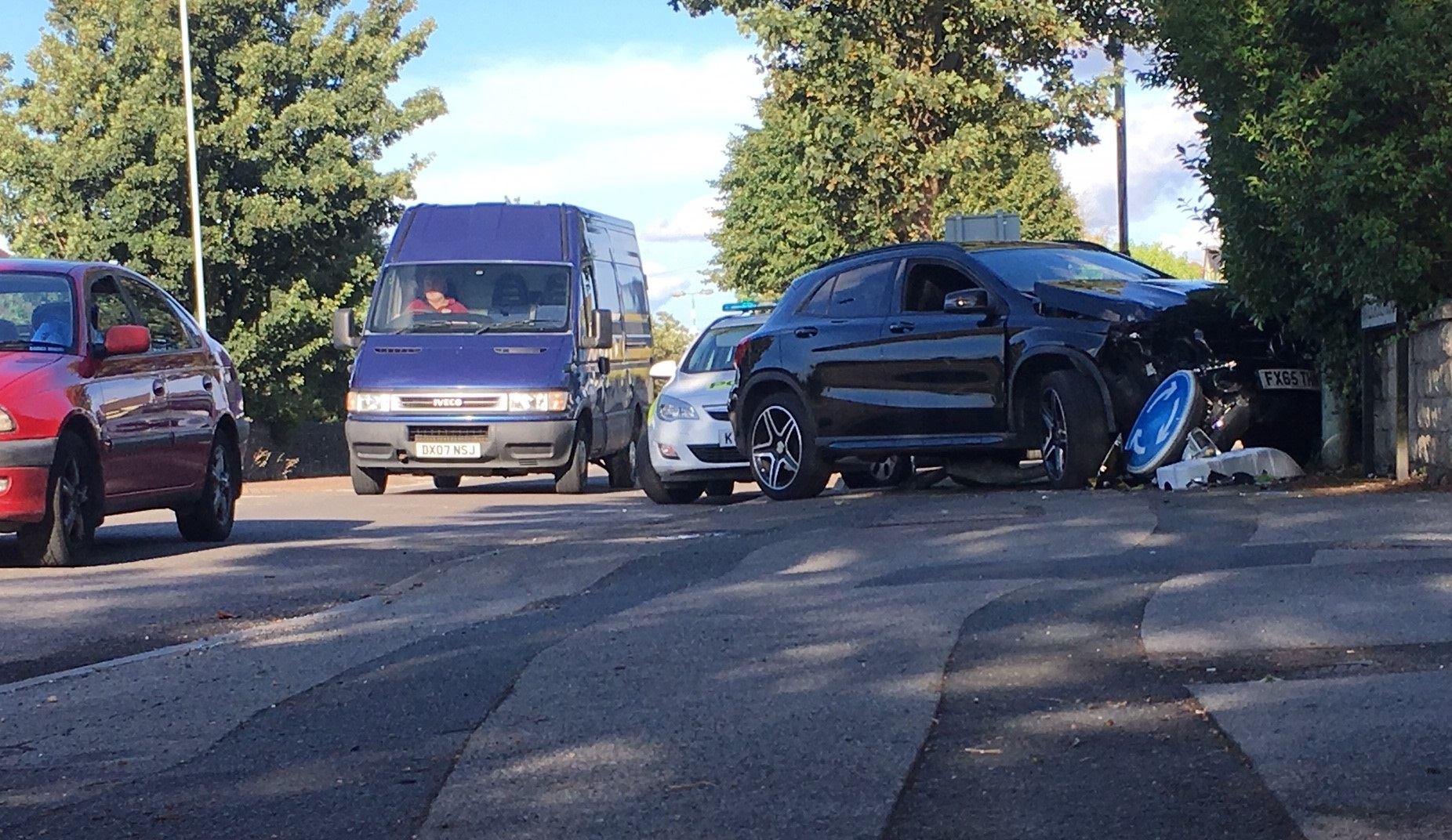 Mercedes GLA200 crashed into a lampost along Marlborough Road.