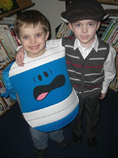 Reece Prouse-Edwards dressed as Mr Bump for World Book Day. To the right is Billy Silverster dressed as Oliver Twist.