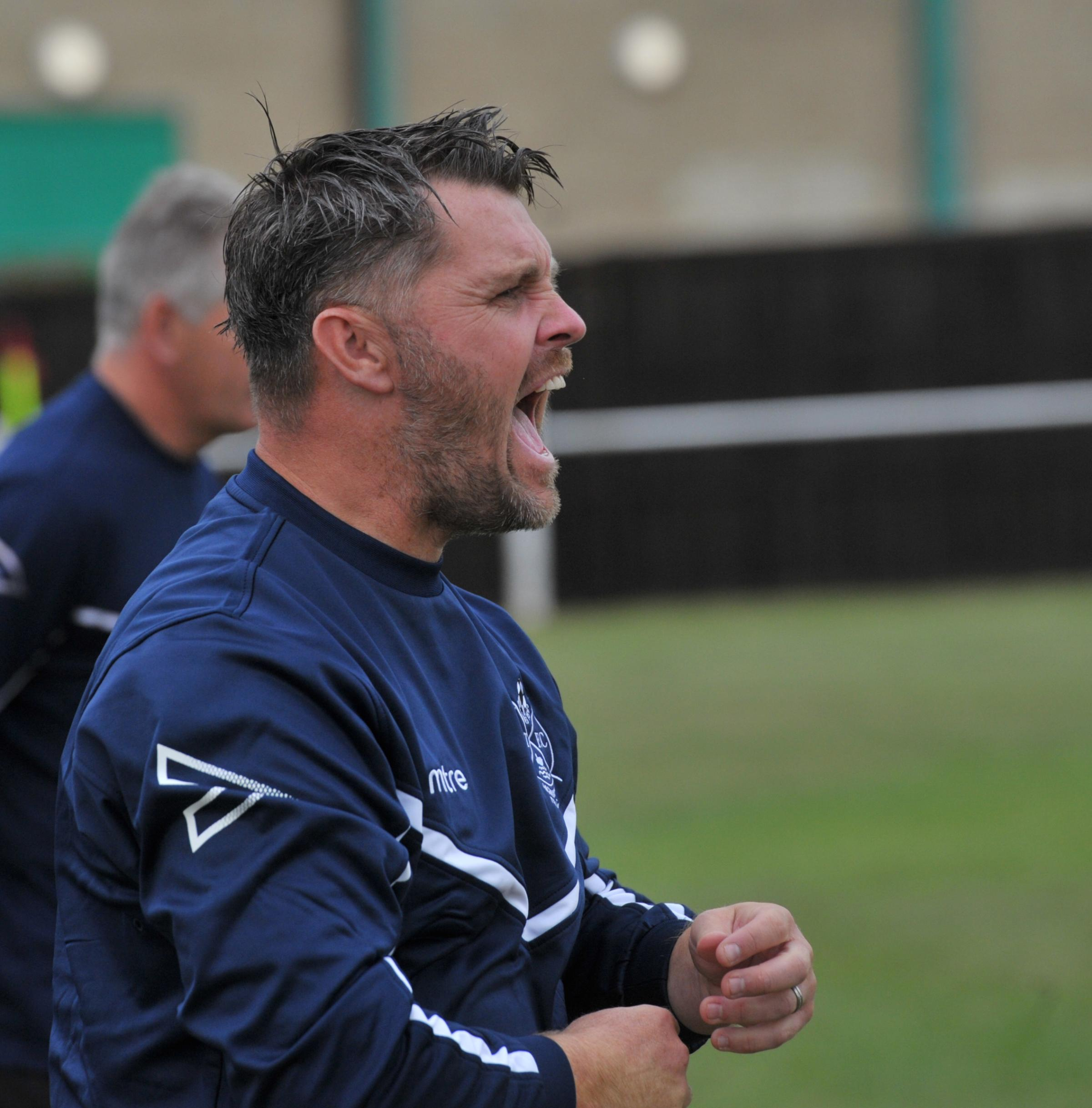 Highworth Town boss Jeff Roberts watches his side's 1-0 Southern League victory over AFC Totton.  Picture: DAVE COX