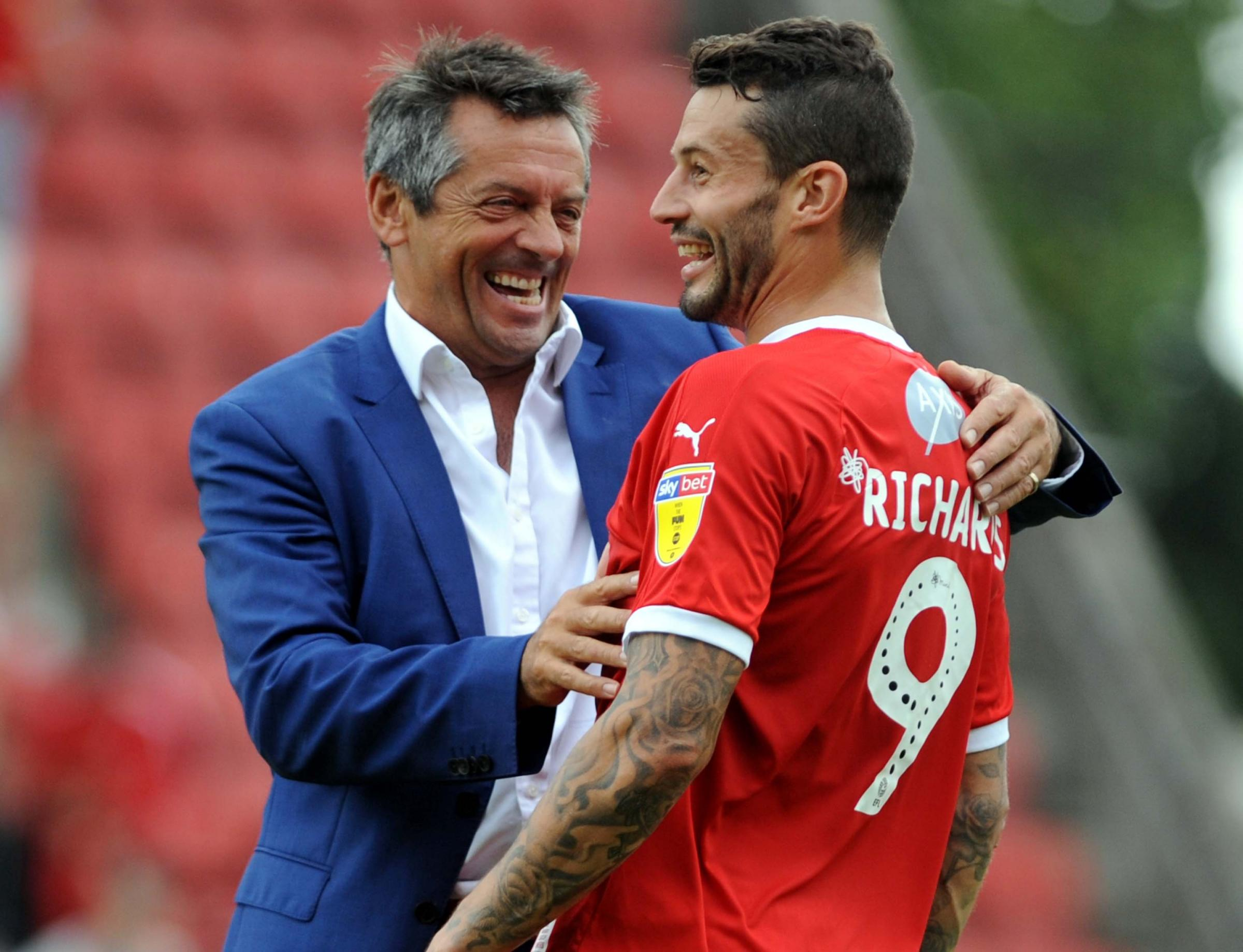 STFC v Tranmere      Pic Dave Evans        19.08.18    .Boss Phil Brown delighted to see Marc Richards return after injury..