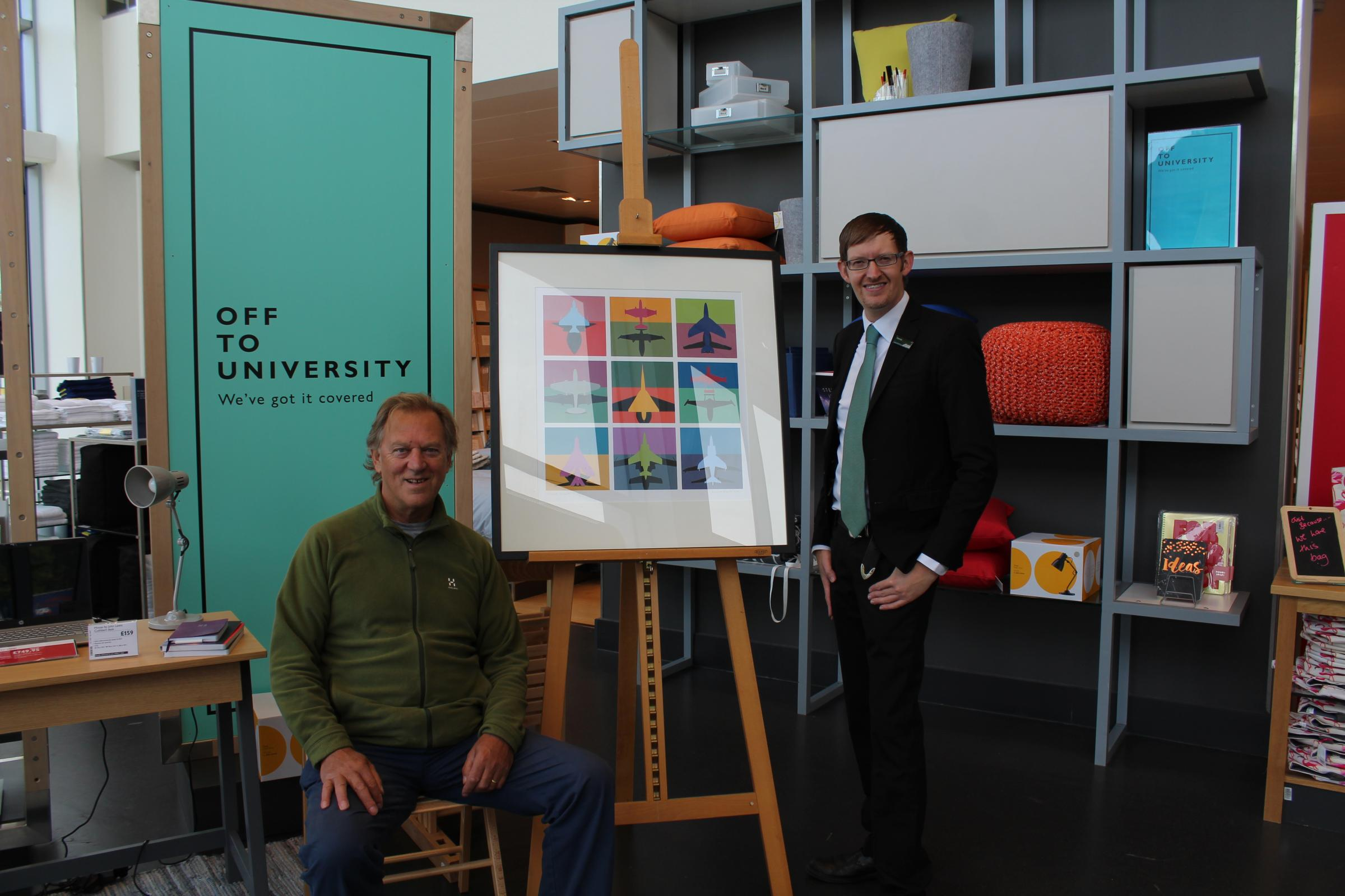 Artist David Bent with Daniel Thuysbaert of John Lewis, which is supporting Swindon Open Studios.