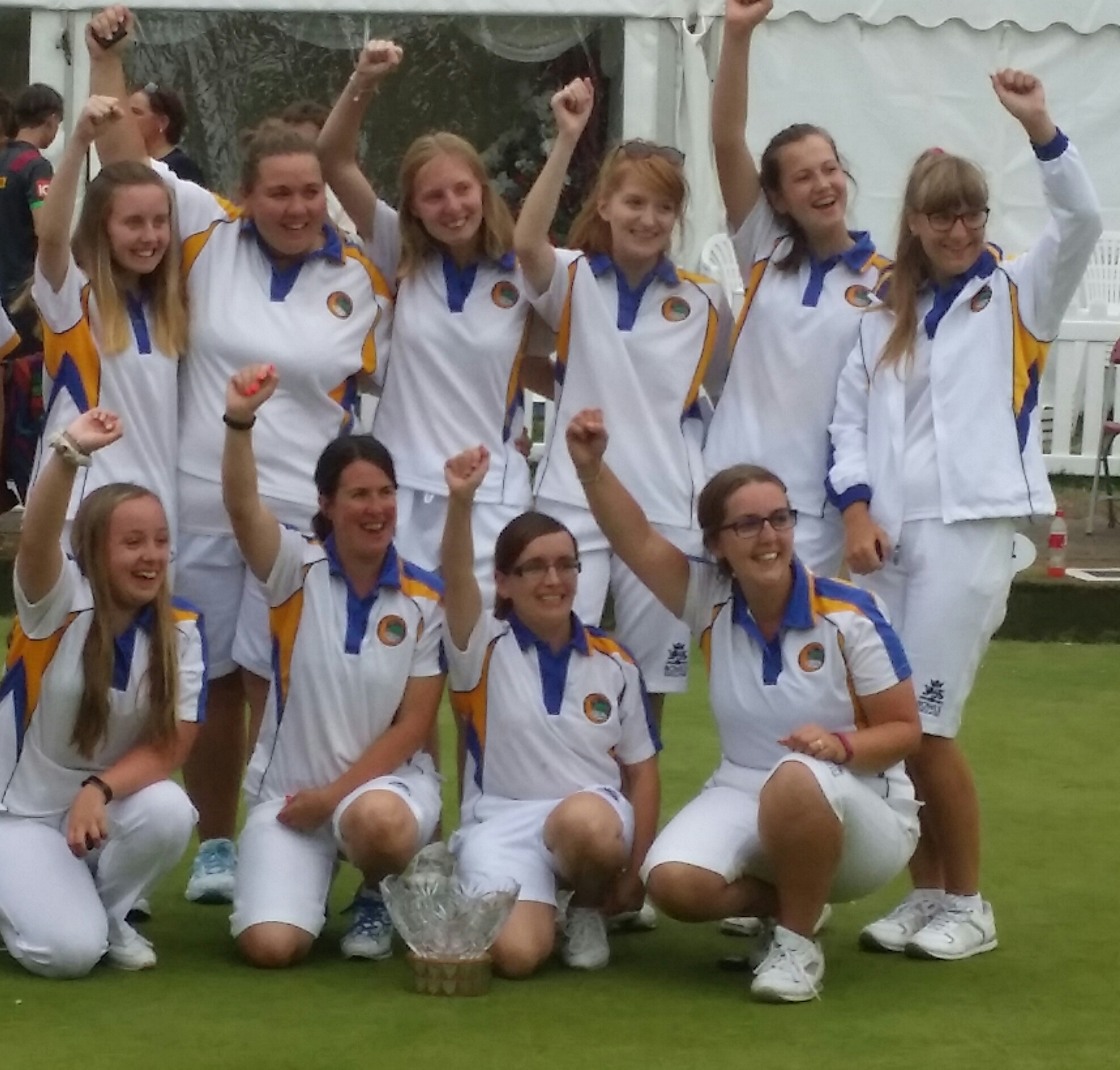Wiltshire's triumphant Amy Rose Bowl winners are, back (l-r): Lucy Smith, Kathryn Yeoman, Katy Smith, Georgina Newman, Emily Jacob, Louise Rose (reserve); front: Kerry Hatherall (res), Charlie Godwin (captain), Rachel Martin, Joanna Hicks