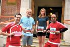 Councillors running the Swindon Half Marathon left to right Pic -   Tim Swinyard, Stan Pajak, Nadine Watts, Junab AliPic By Dave Cox