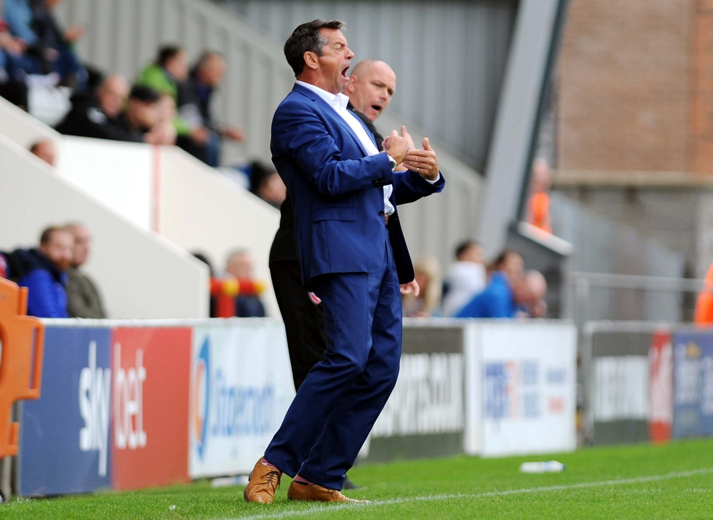 Morcambe v STFC            Pic Dave Evans        8.9.18.Rivals Phil Brown and Jim Bentley on the touchline..