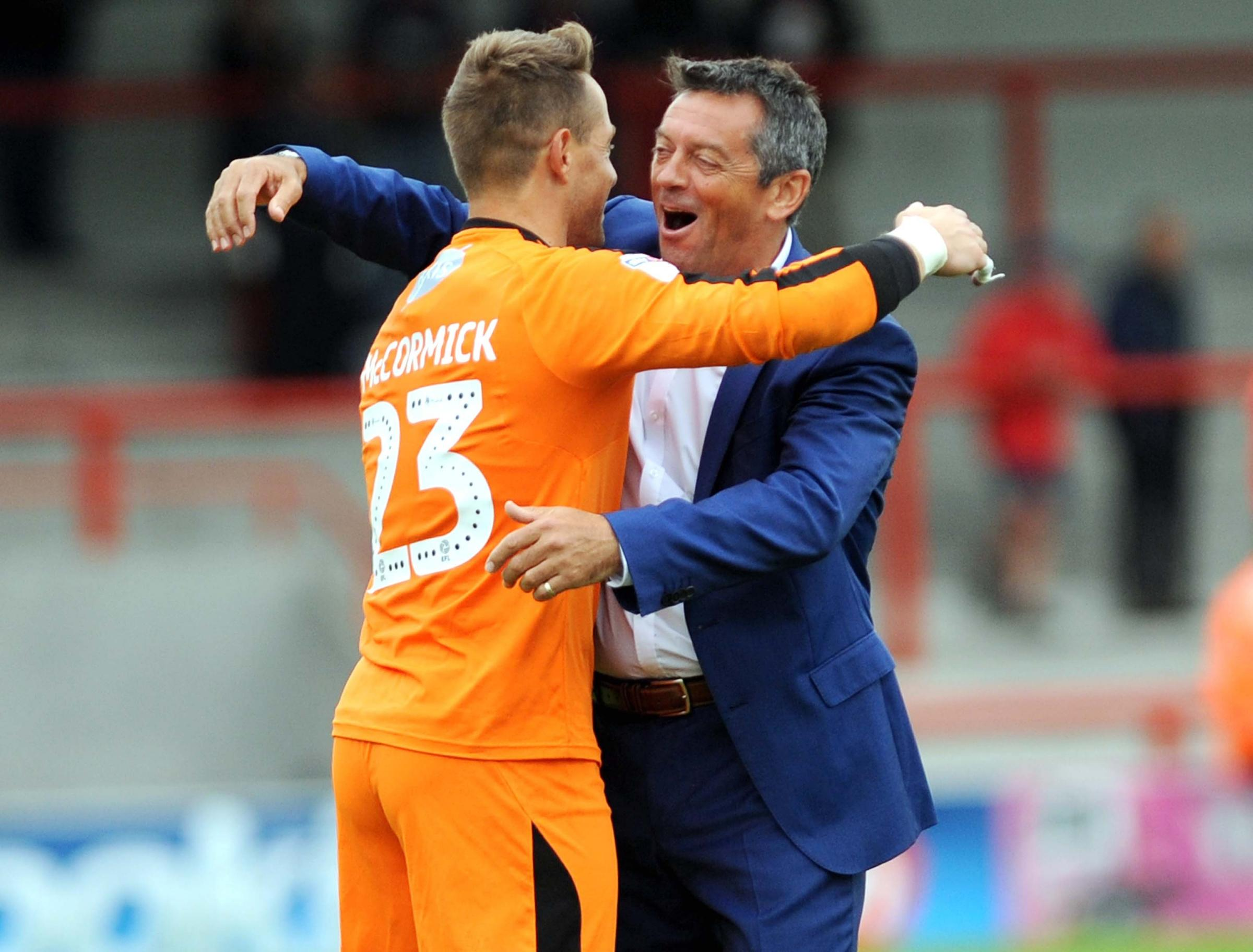 Morcambe v STFC            Pic Dave Evans        8.9.18.Phil Brown full of praise for his heroic goalkeeper Luke McCormick..