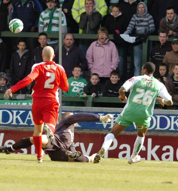 Yeovil's Jonathan Obika scores the only goal of the game