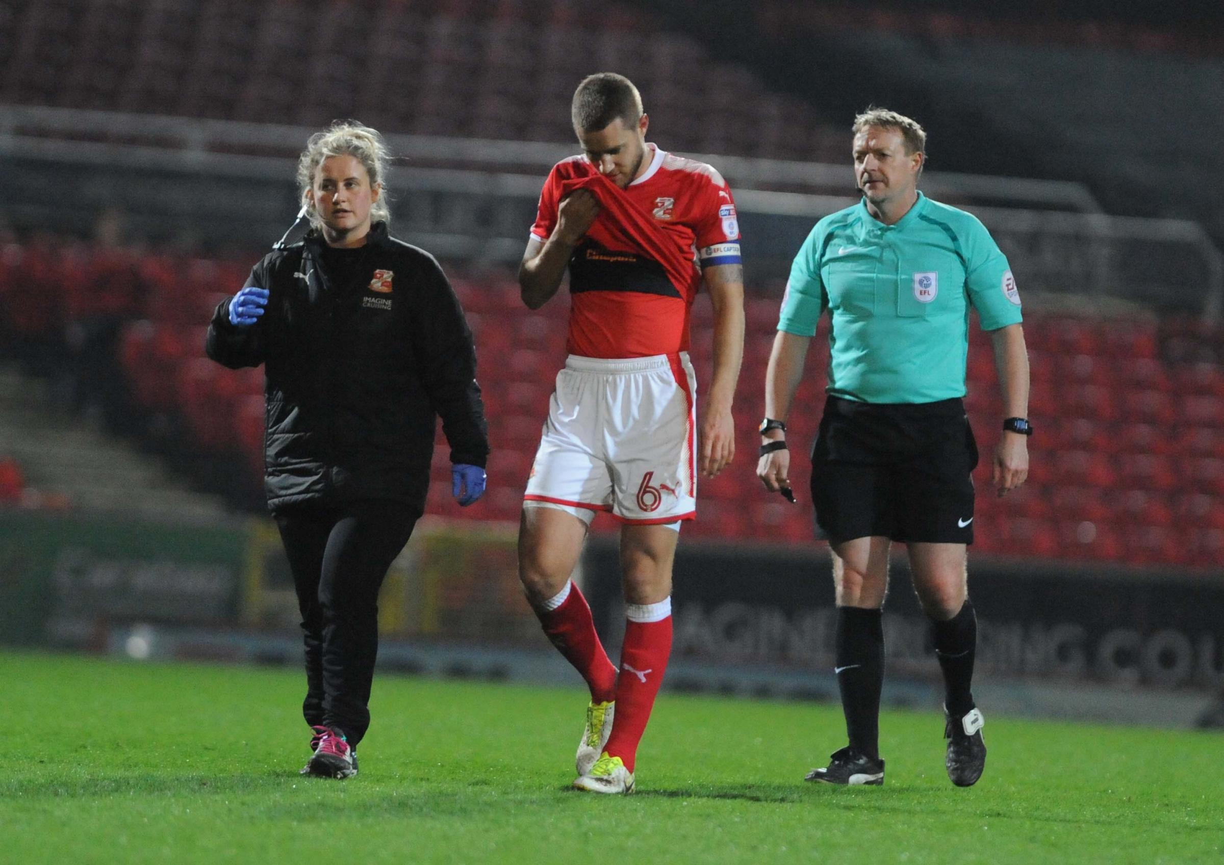 STFC V YEOVIL     pic dave evans.Injured Olly Lancashire leaves the field.