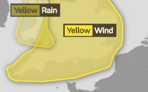 A yellow weather warning covering Swindon has been issued for wind