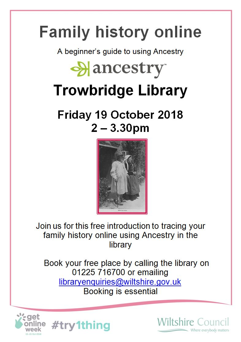 Get Online Week Beginner's Guide to Ancestry at Trowbridge Library