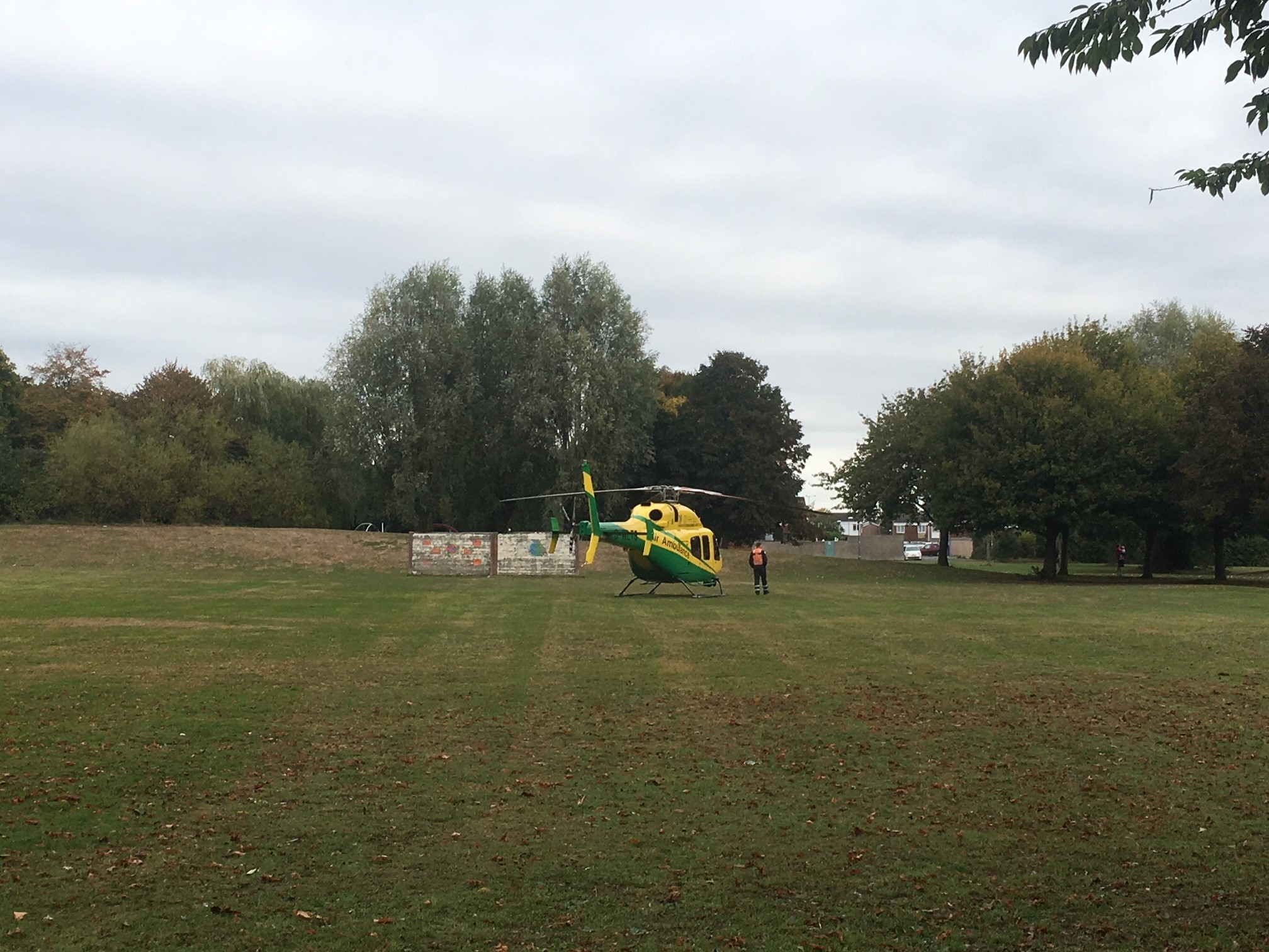 Wiltshire Air Ambulance landed on Liden Green on Sunday.