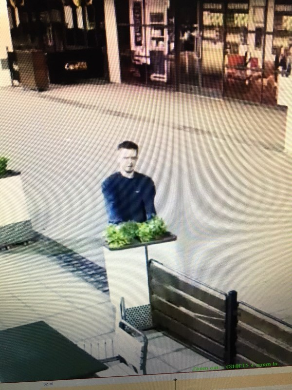 Police would like to speak to this man in relation to a criminal damage incident.