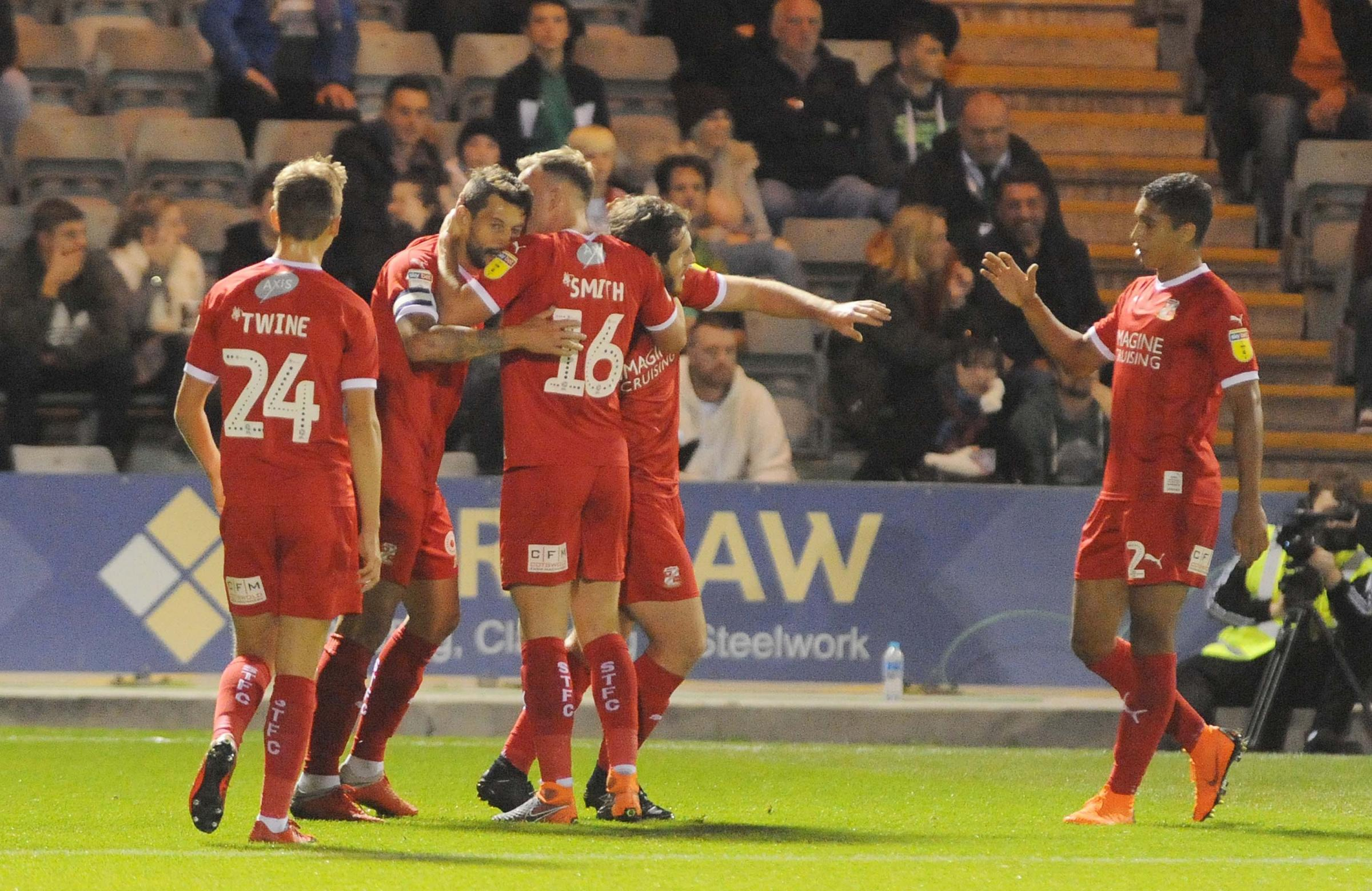 Marc Richards takes the acclaim after scoring the opener at Plymouth                                      Picture: DAVE EVANS