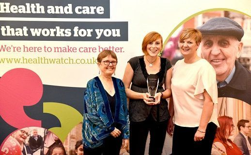 Healthwatch Wiltshire Interim Manager Stacey Plumb, centre, with award judge Liz Sayce, left and Lucie Woodruff from Evolving Communities