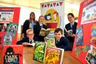 Lewis, Kate Murphy, Kasey, Jaydon and Ellie prepare for Swindon Youth Literature Festival 2018. Picture: DAVE COX