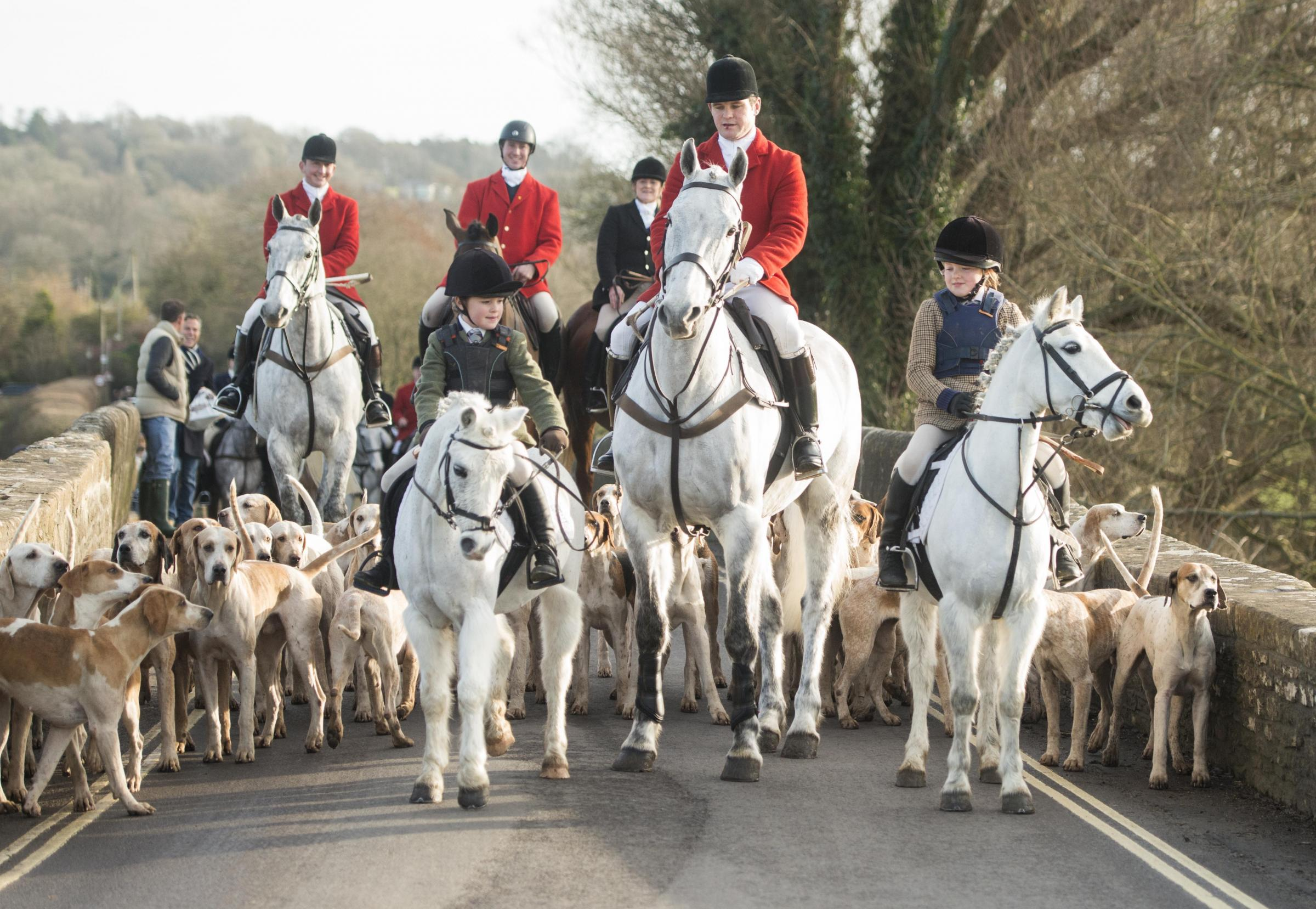 Lacock Hunt.The Avon Vale Hunt ride out on the traditional Boxing Day hunt in Lacock,  Pictured at the Pack Horse Bridge.Pics Trevor Porter 58053 5.