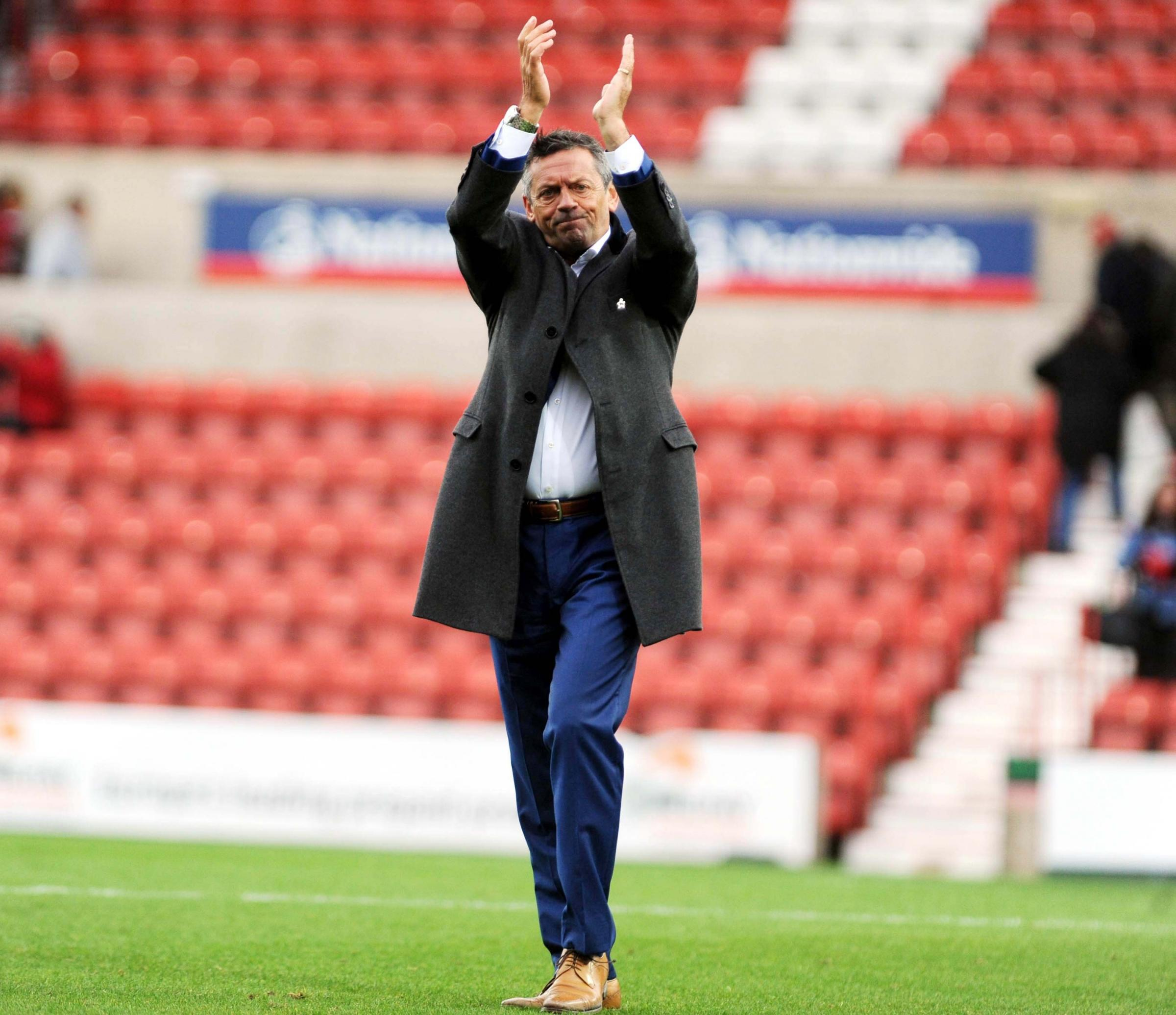 STFC v Northampton       Pic Dave Evans       6.9.18.Phil Brown thanks Town's fans..